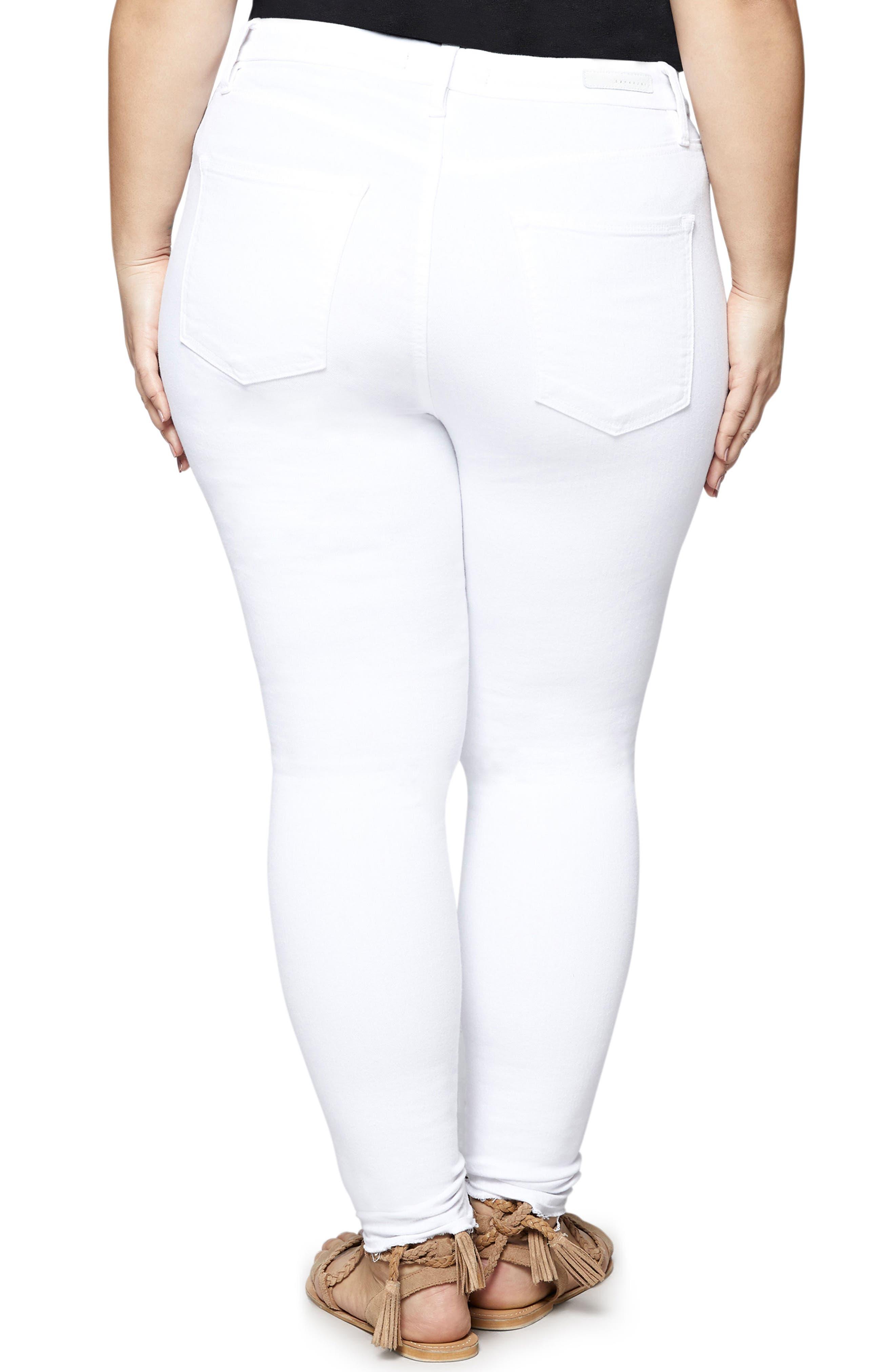 Saige Skinny Jeans,                             Alternate thumbnail 3, color,                             White