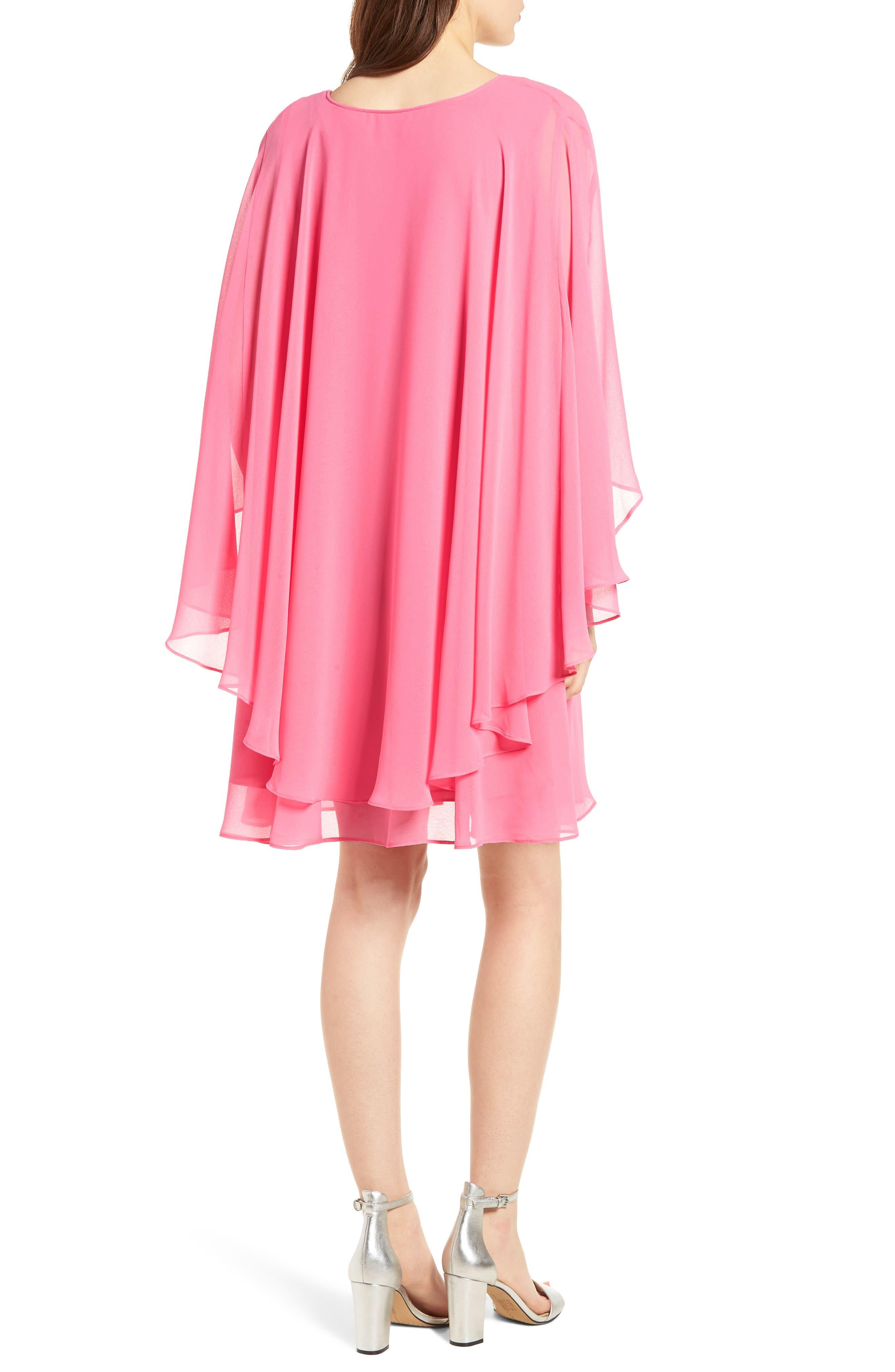 A-Line Chiffon Dress,                             Alternate thumbnail 2, color,                             Pink Zenna