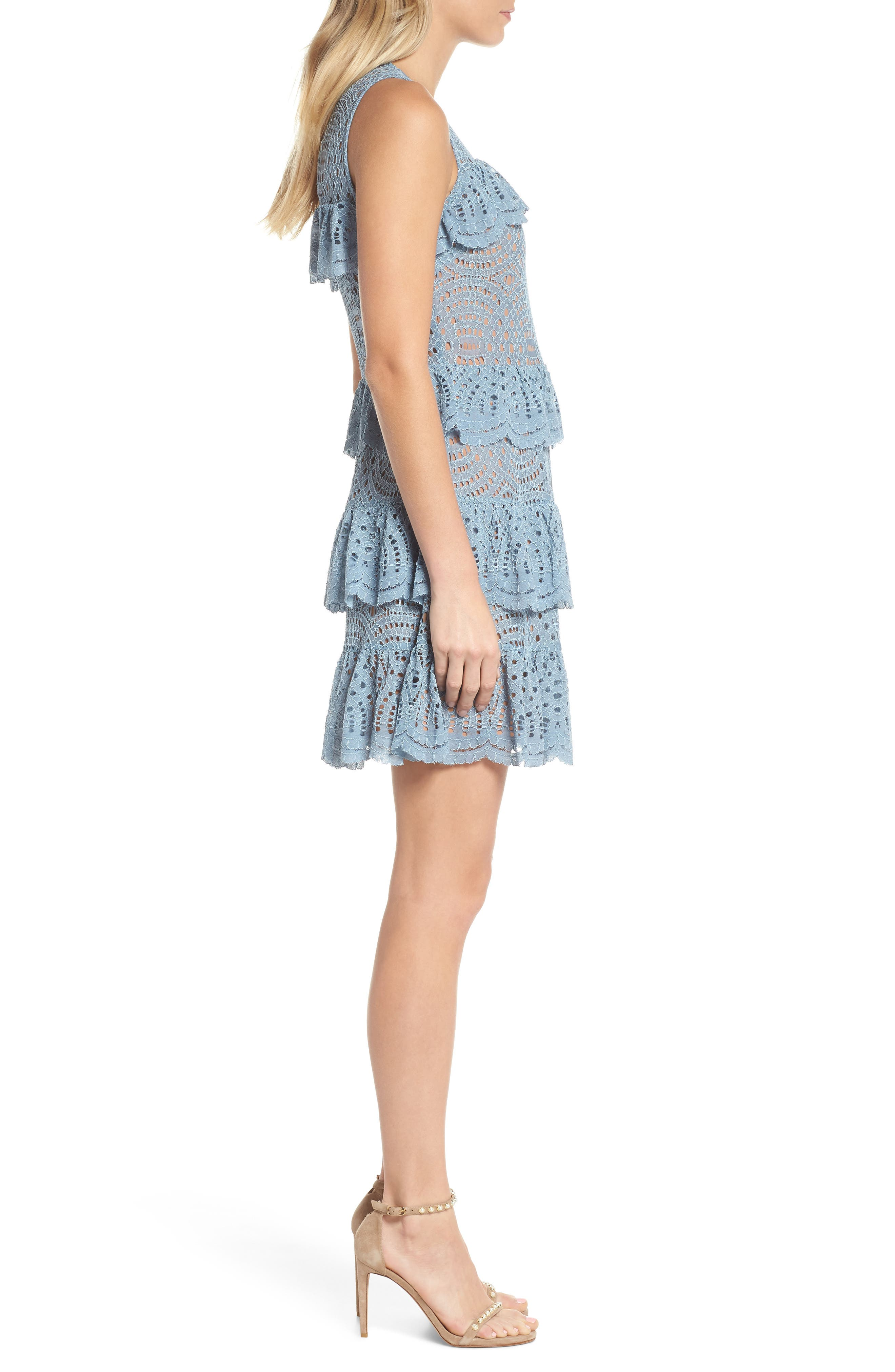 Tiered Lace Dress,                             Alternate thumbnail 3, color,                             Chambray