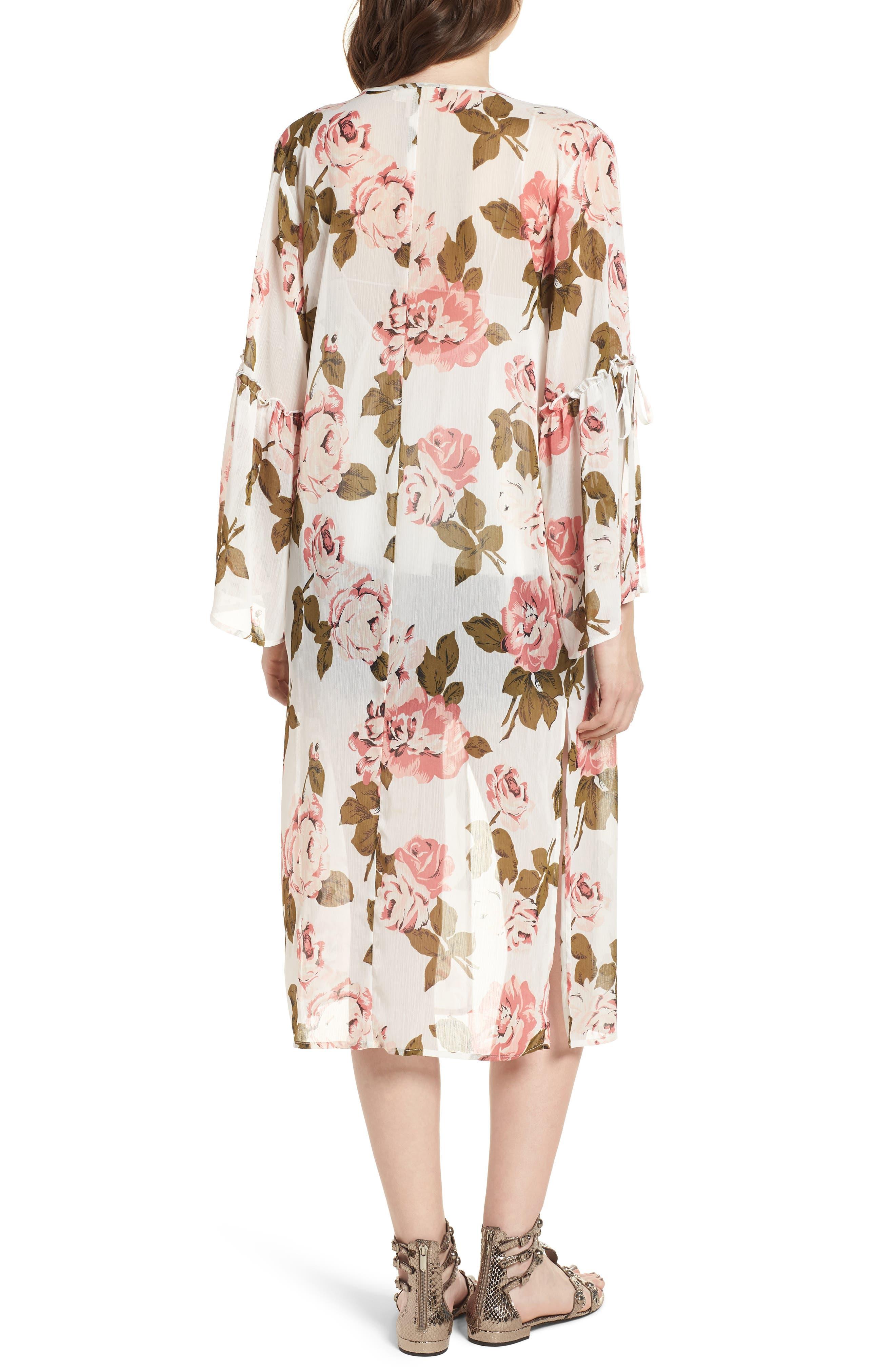 Tie Sleeve Kimono,                             Alternate thumbnail 2, color,                             Ivory Rose Print
