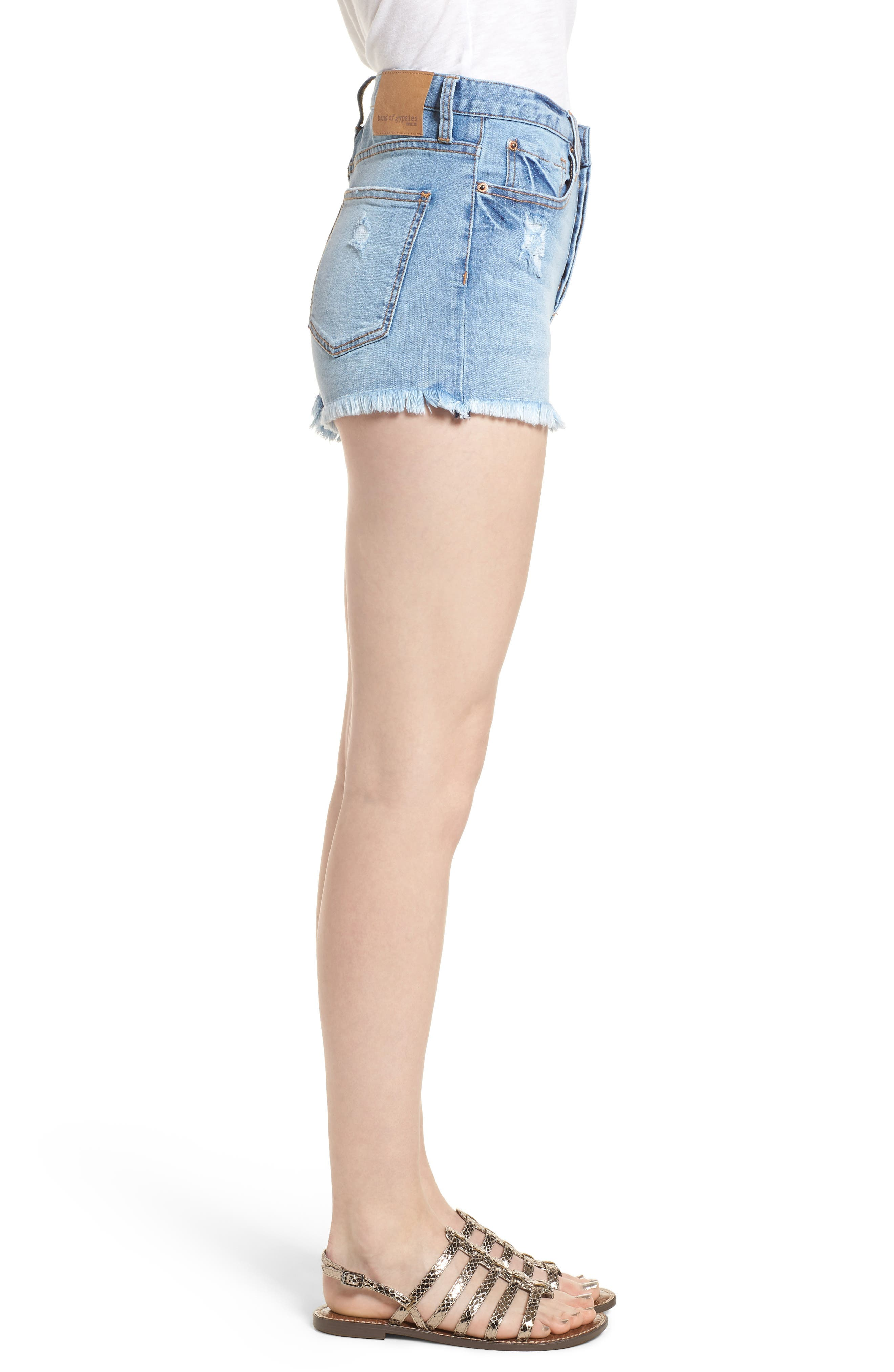 Zoey Denim Shorts,                             Alternate thumbnail 3, color,                             Dustbowl