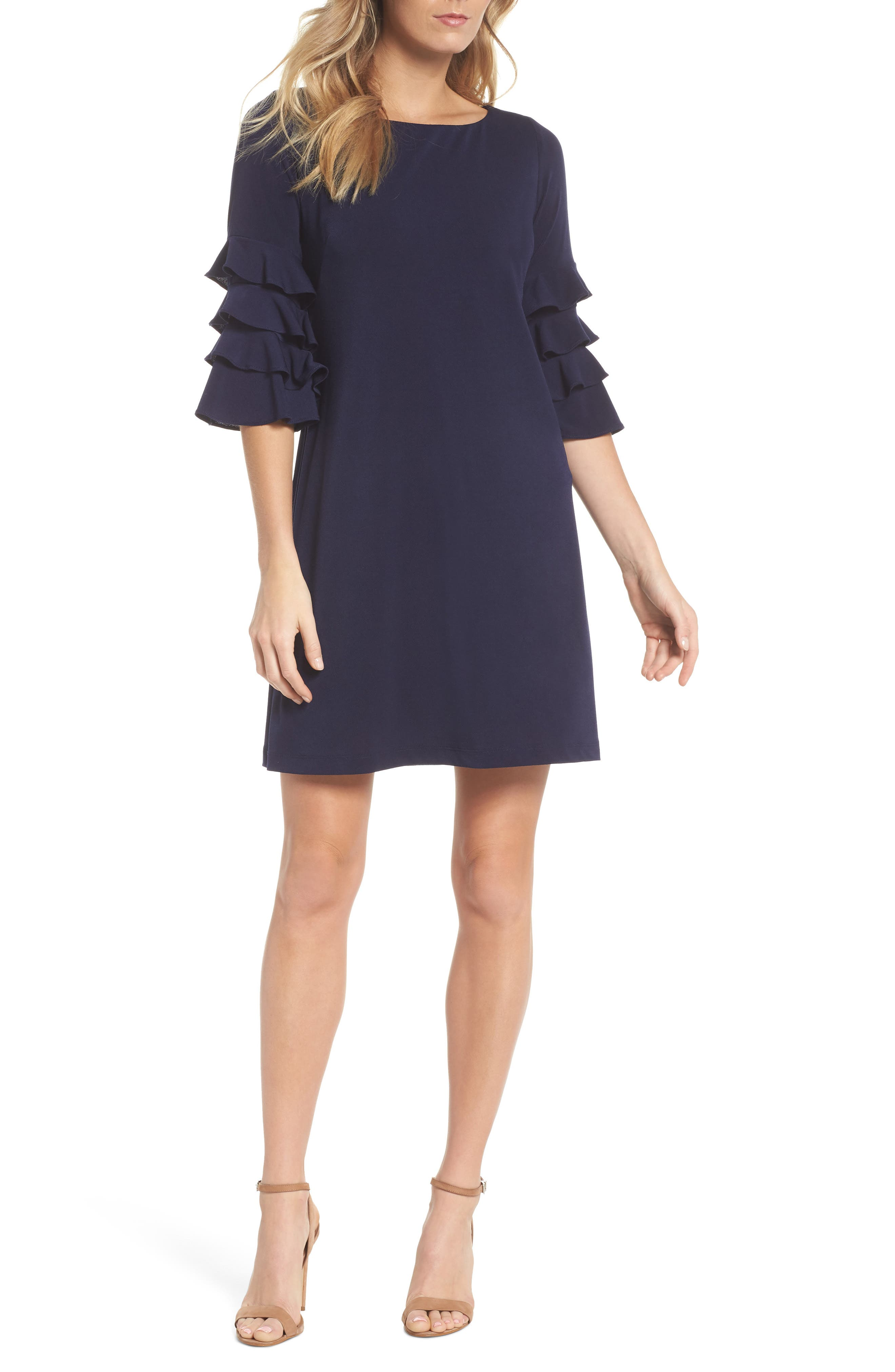 Tiered Sleeve Crepe Shift Dress,                         Main,                         color, Navy