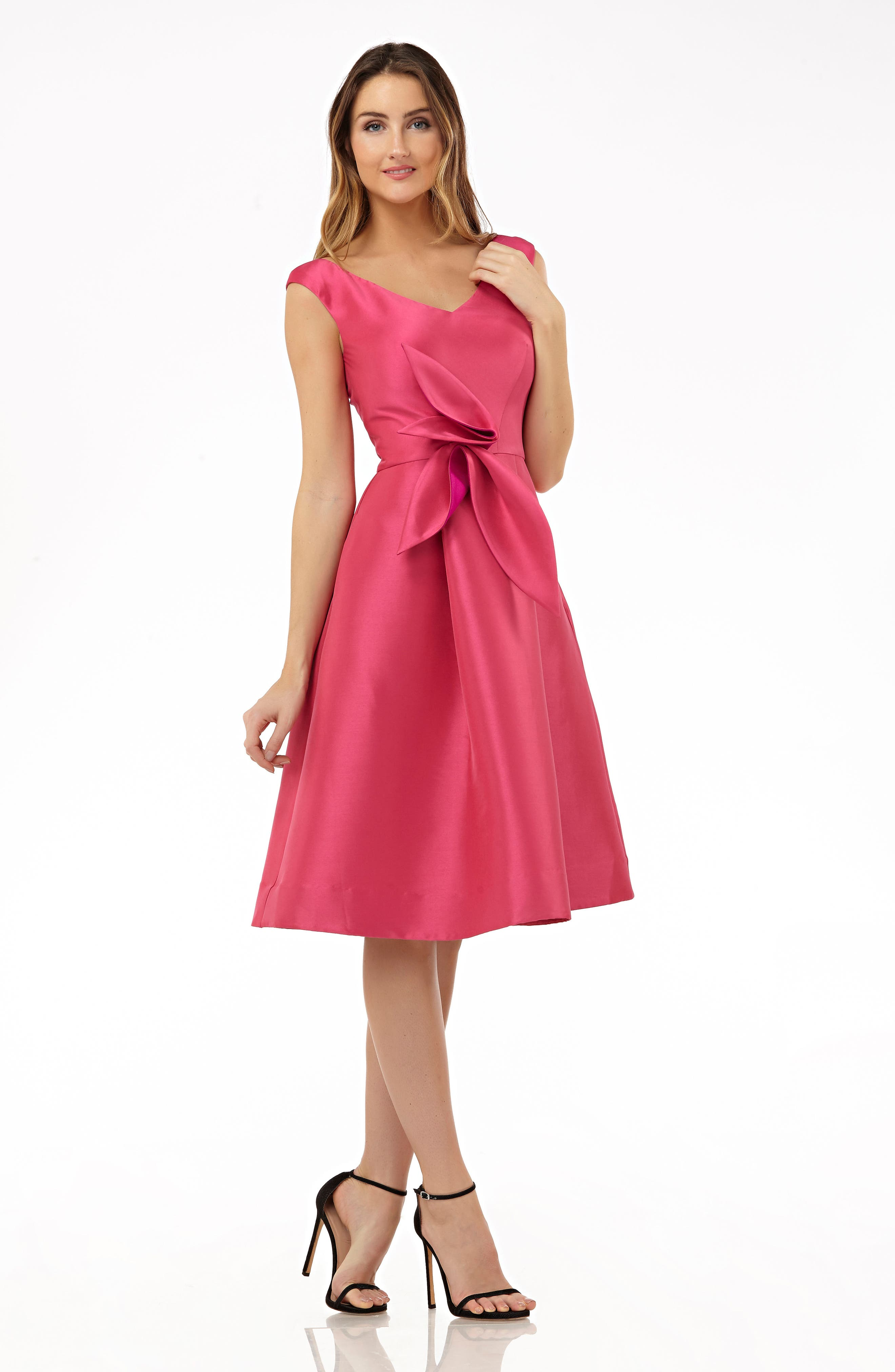 Sleeveless Stretch Mikado Fit & Flare Dress,                             Alternate thumbnail 3, color,                             Hibiscus