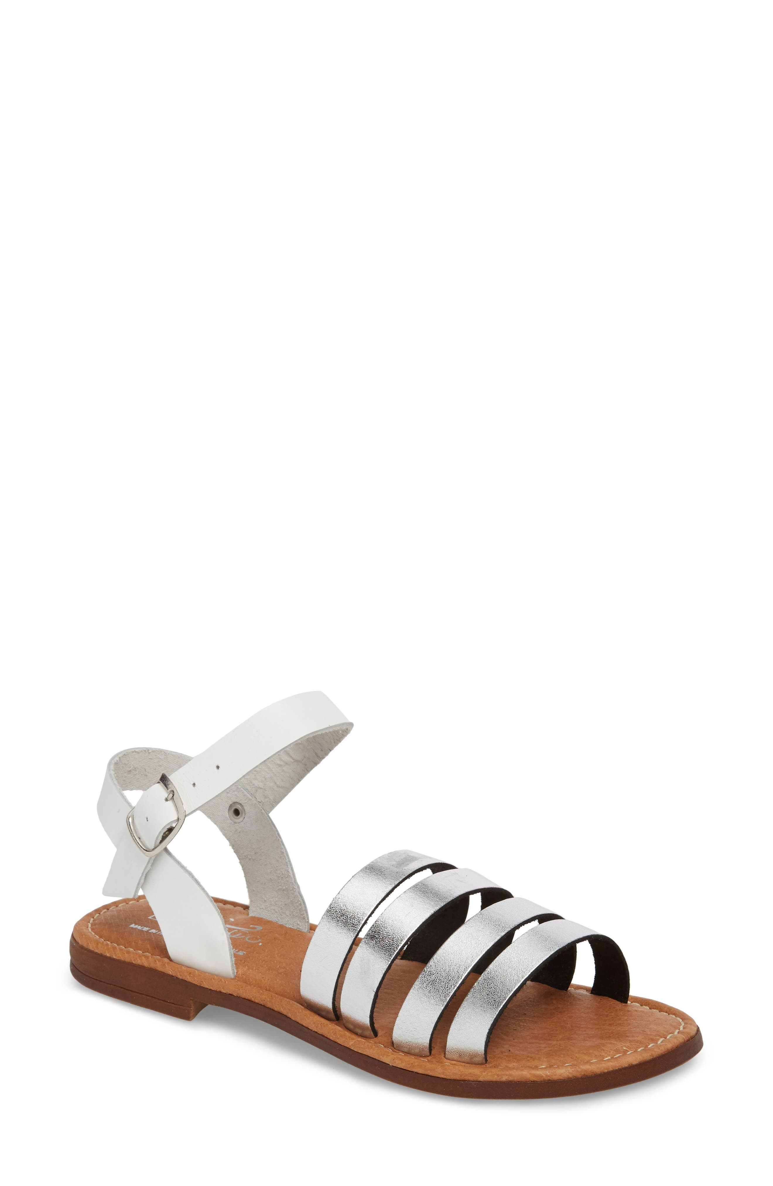 Isle Sandal,                             Main thumbnail 1, color,                             Silver/ White Leather