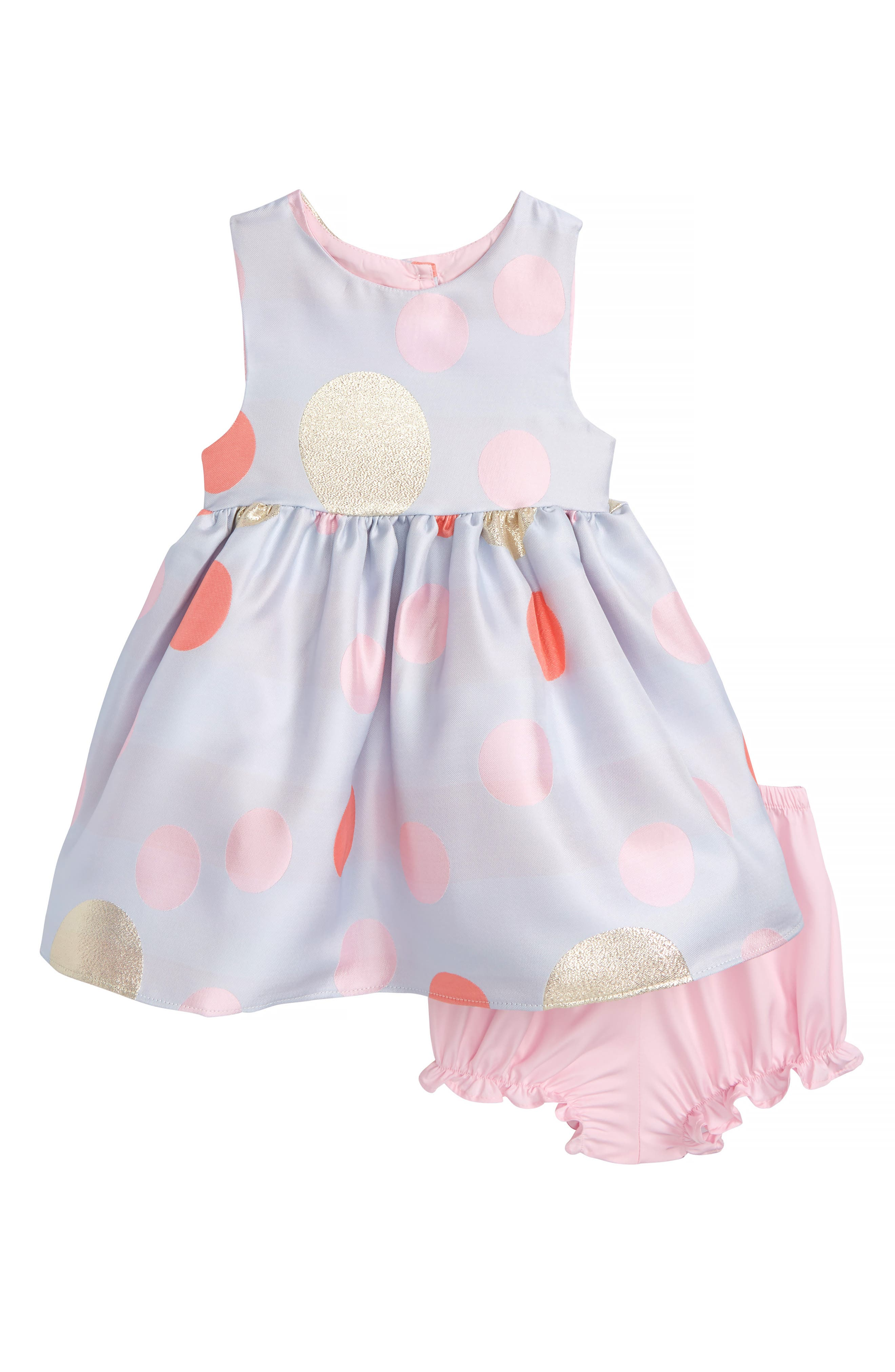 Main Image - Frais Metallic Jacquard Polka Dot Party Dress (Baby Girls)