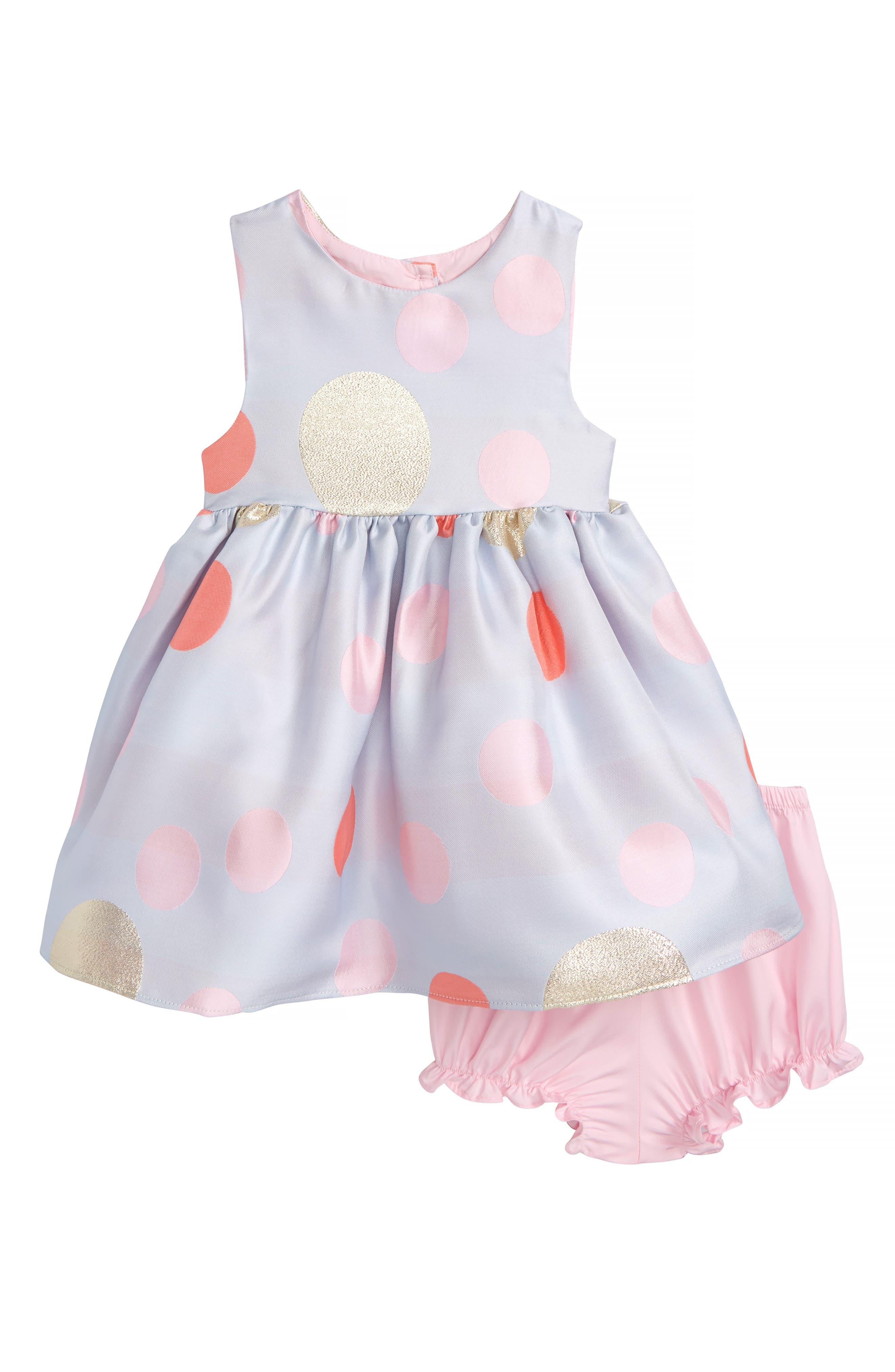 Frais Metallic Jacquard Polka Dot Party Dress (Baby Girls)