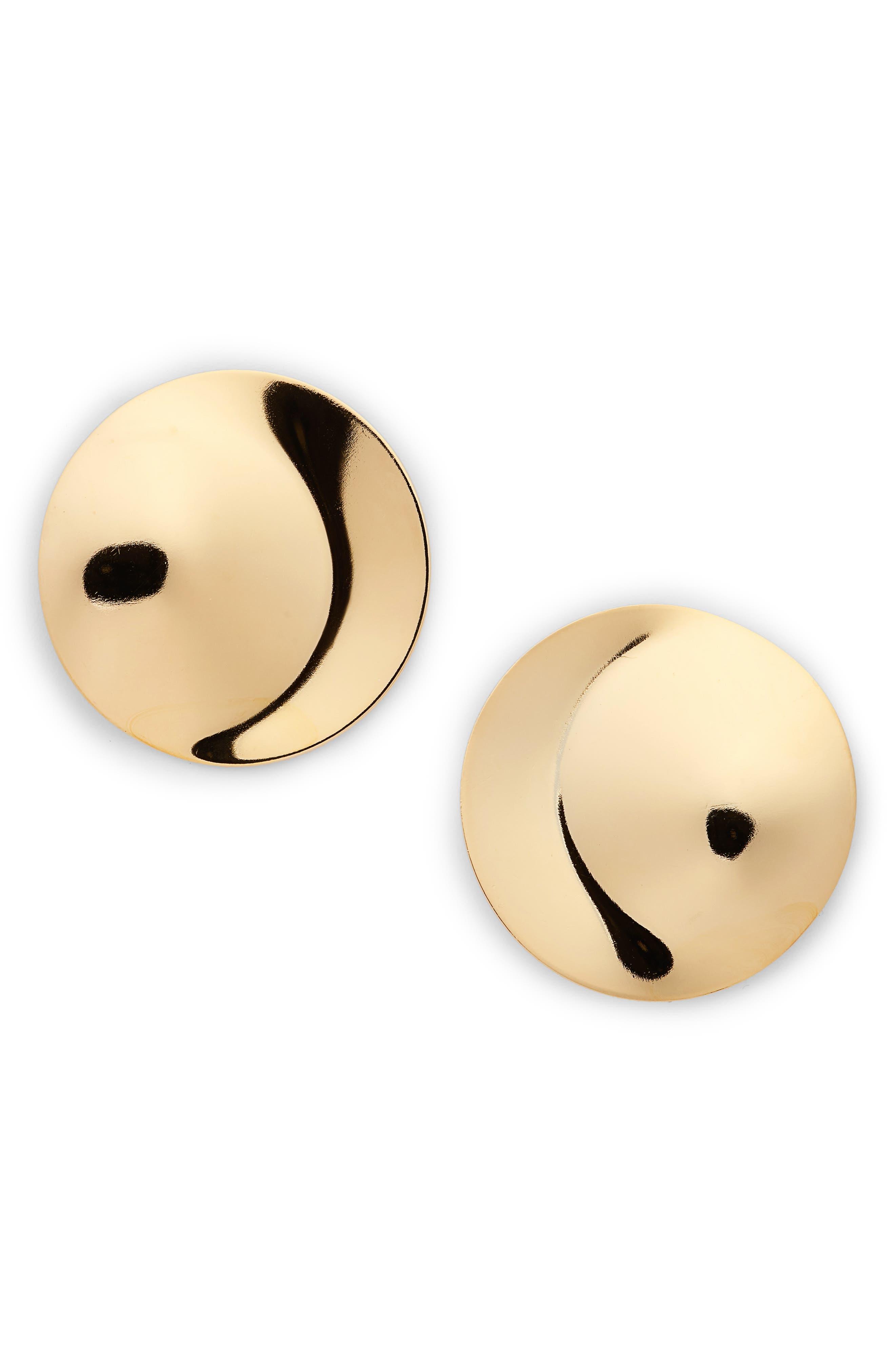 Penny Moon Stud Earrings,                         Main,                         color, Gold