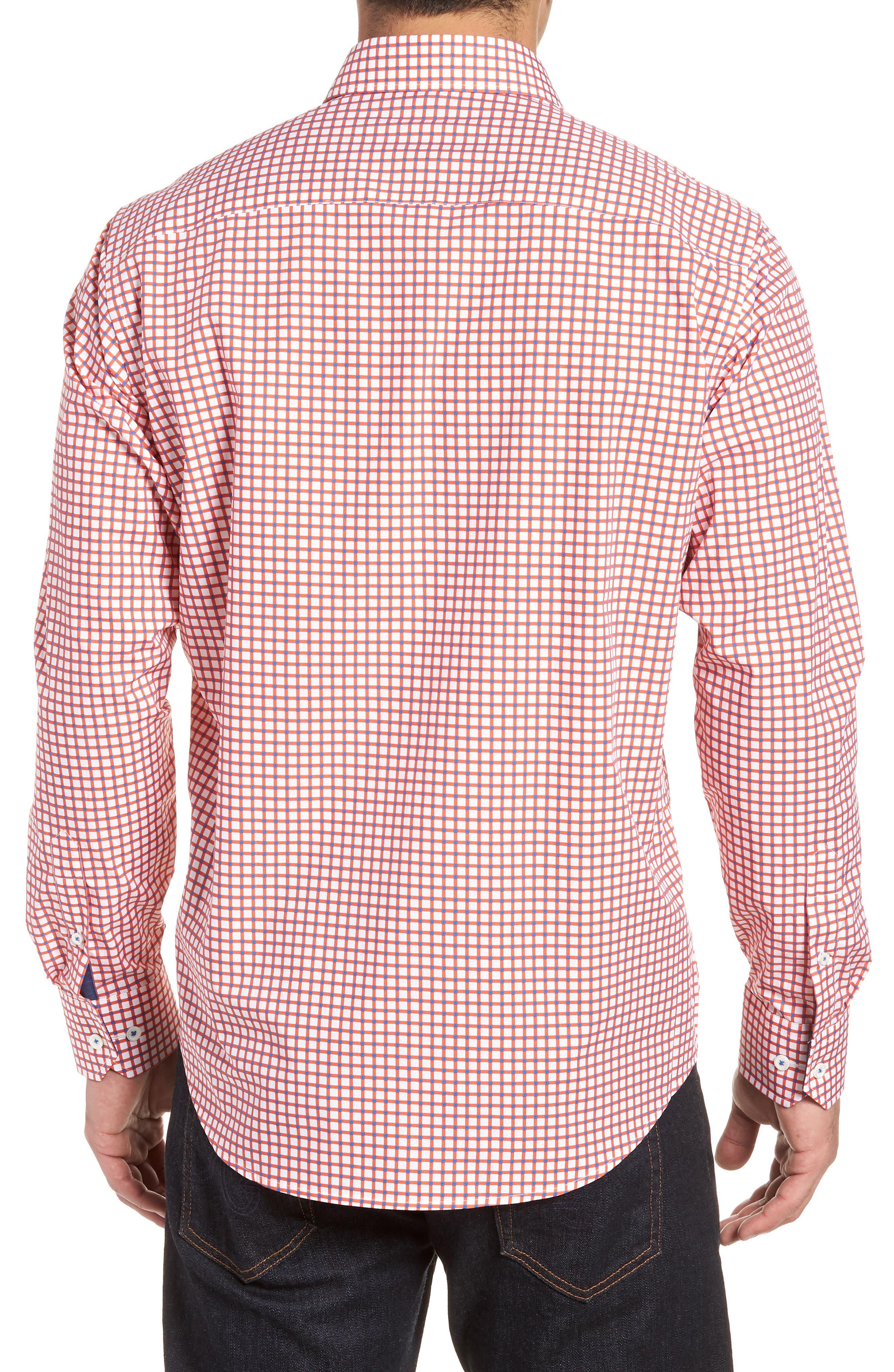 Classic Fit Check Sport Shirt,                             Alternate thumbnail 2, color,                             Tangerine