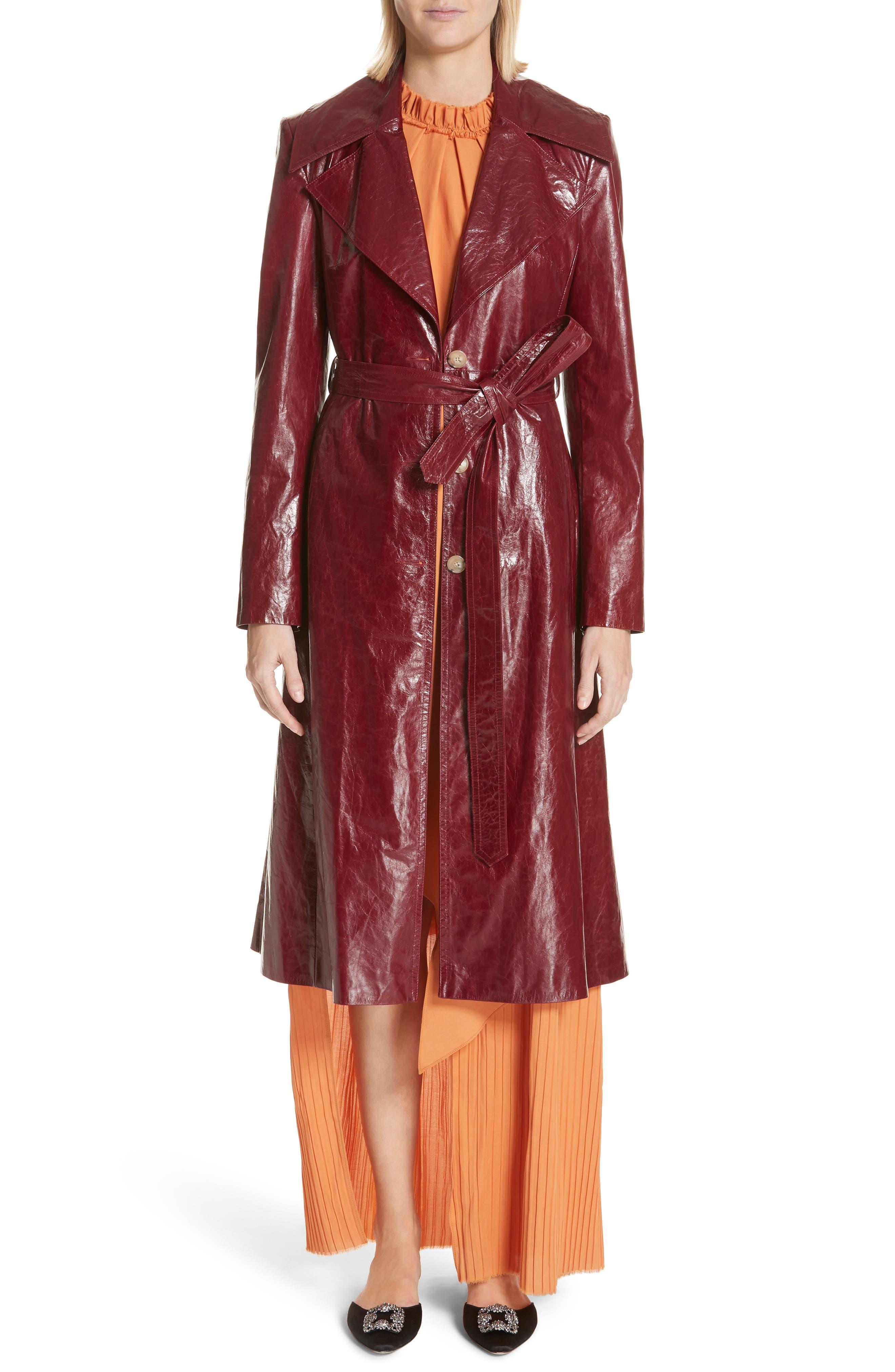 Leather Trench Coat,                             Alternate thumbnail 7, color,                             Bordeaux