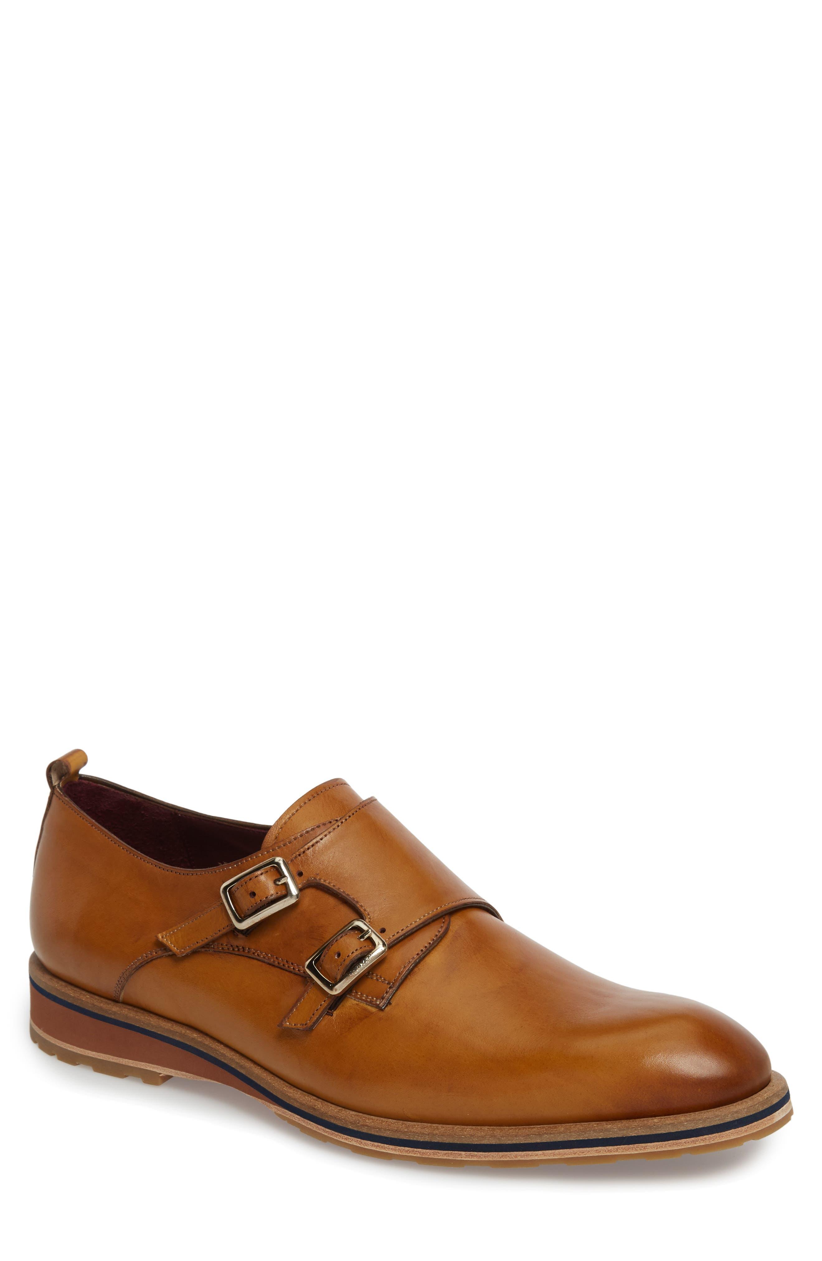 Apolo Double Buckle Monk Shoe,                             Main thumbnail 1, color,                             Honey Leather