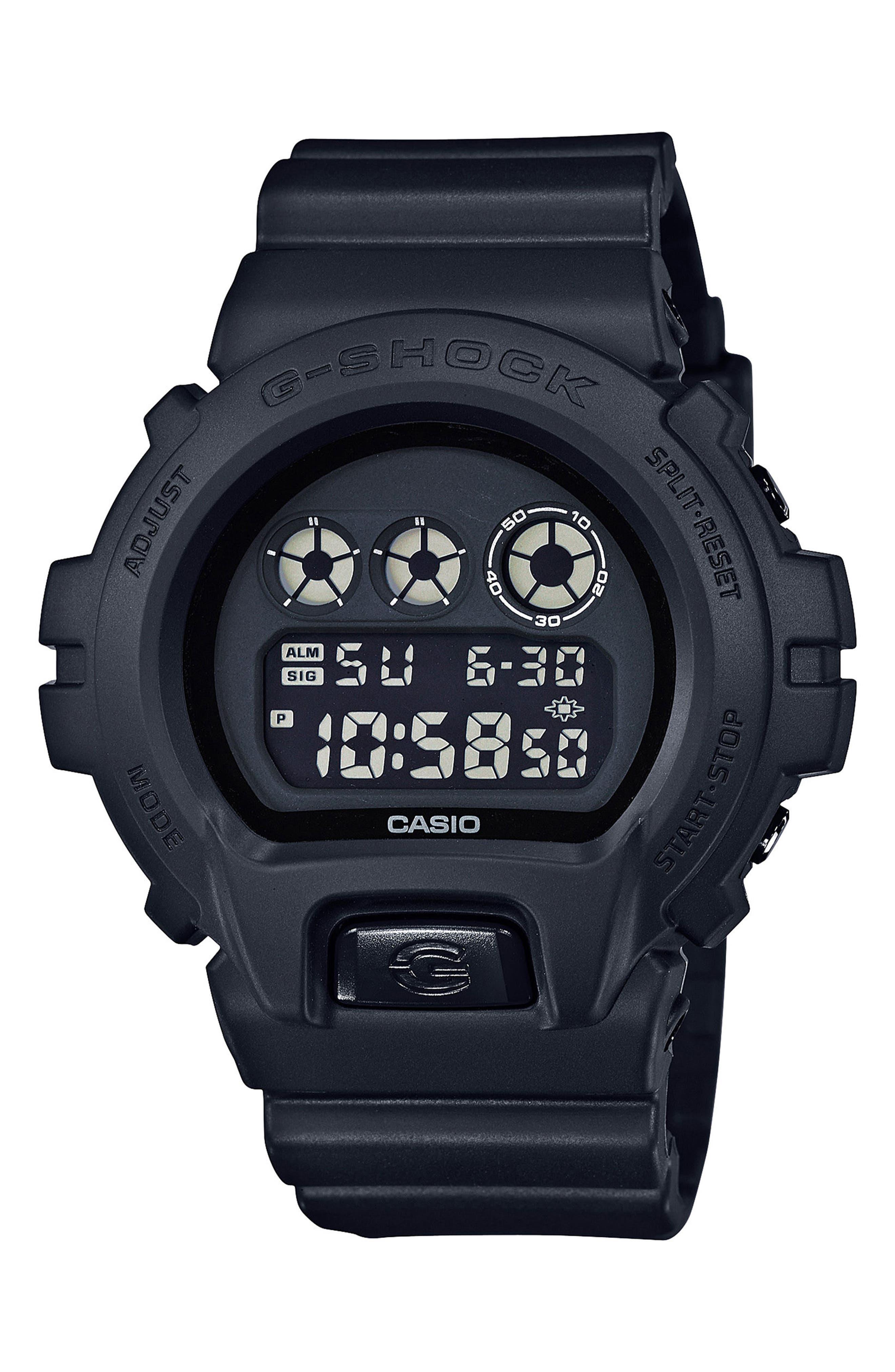 G-Shock Resin Digital Watch, 50mm,                             Main thumbnail 1, color,                             Black