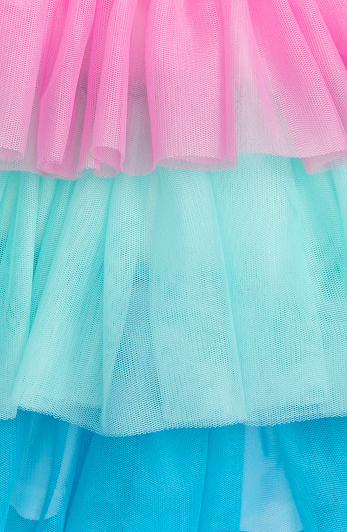 Colorblock Tiered Tulle Skirt,                             Alternate thumbnail 2, color,                             Aqua Multi