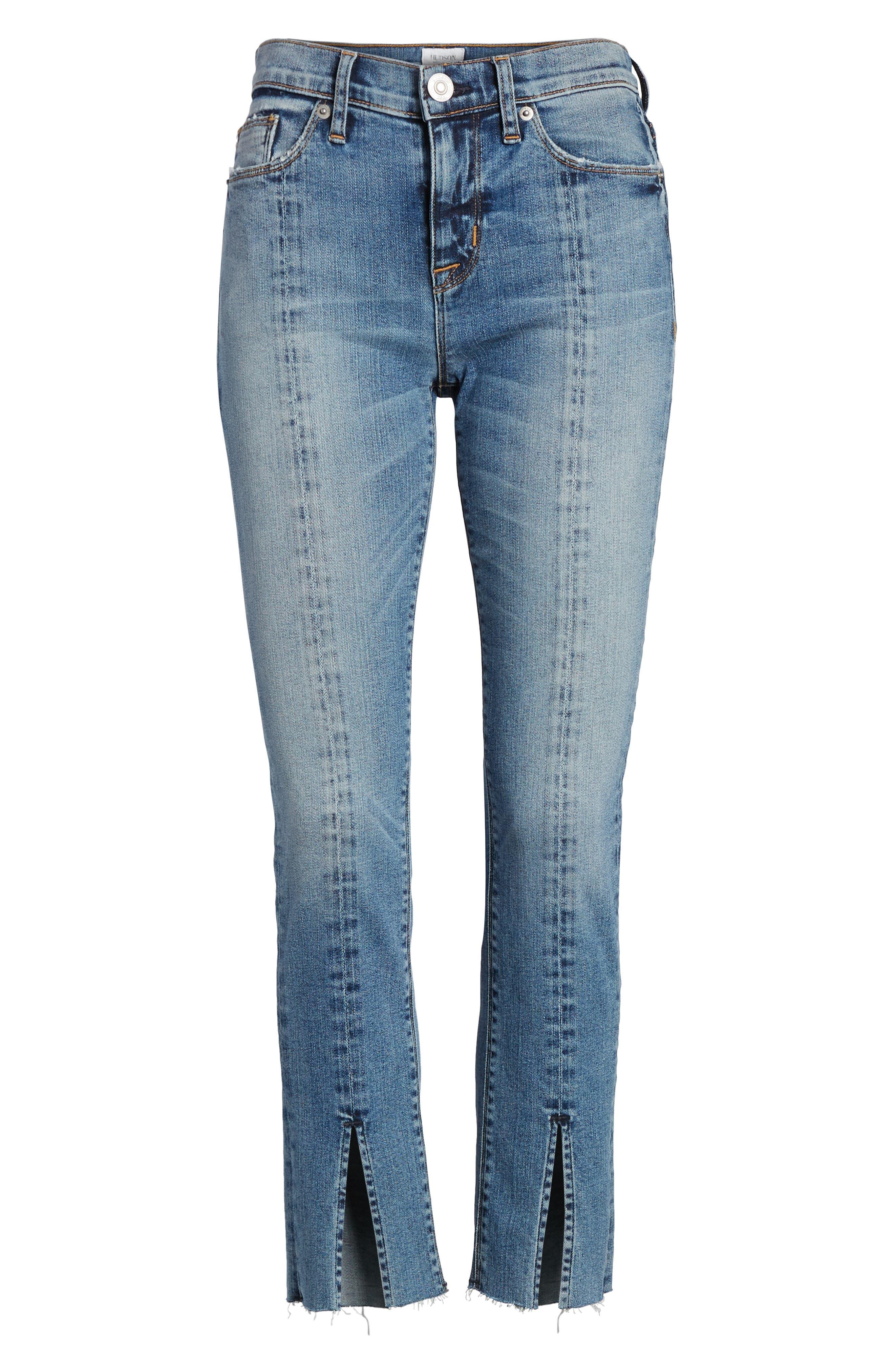 Nico Slit Hem Ankle Straight Leg Jeans,                             Alternate thumbnail 7, color,                             Moxie