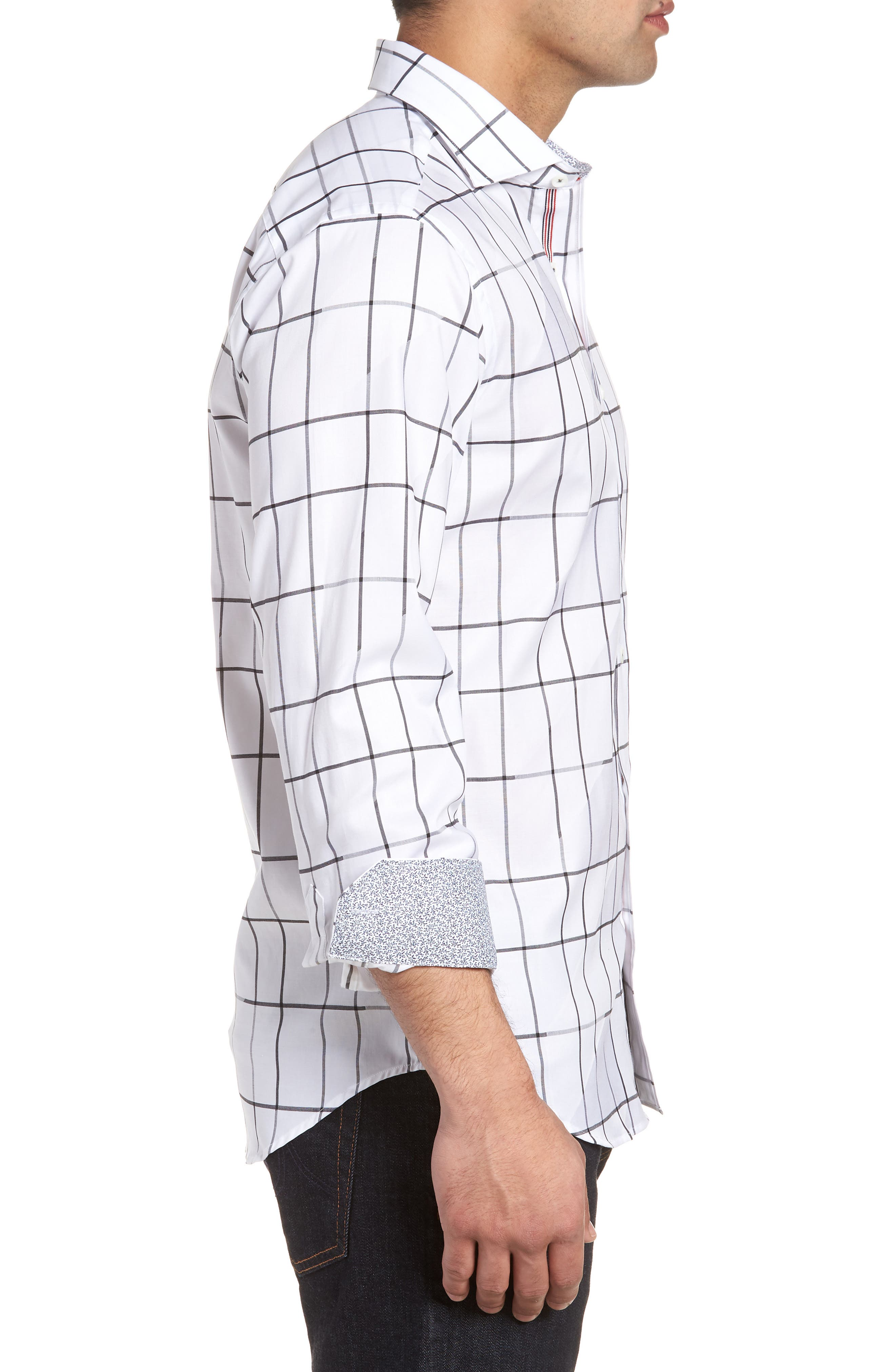 Shaped Fit Check Sport Shirt,                             Alternate thumbnail 3, color,                             White