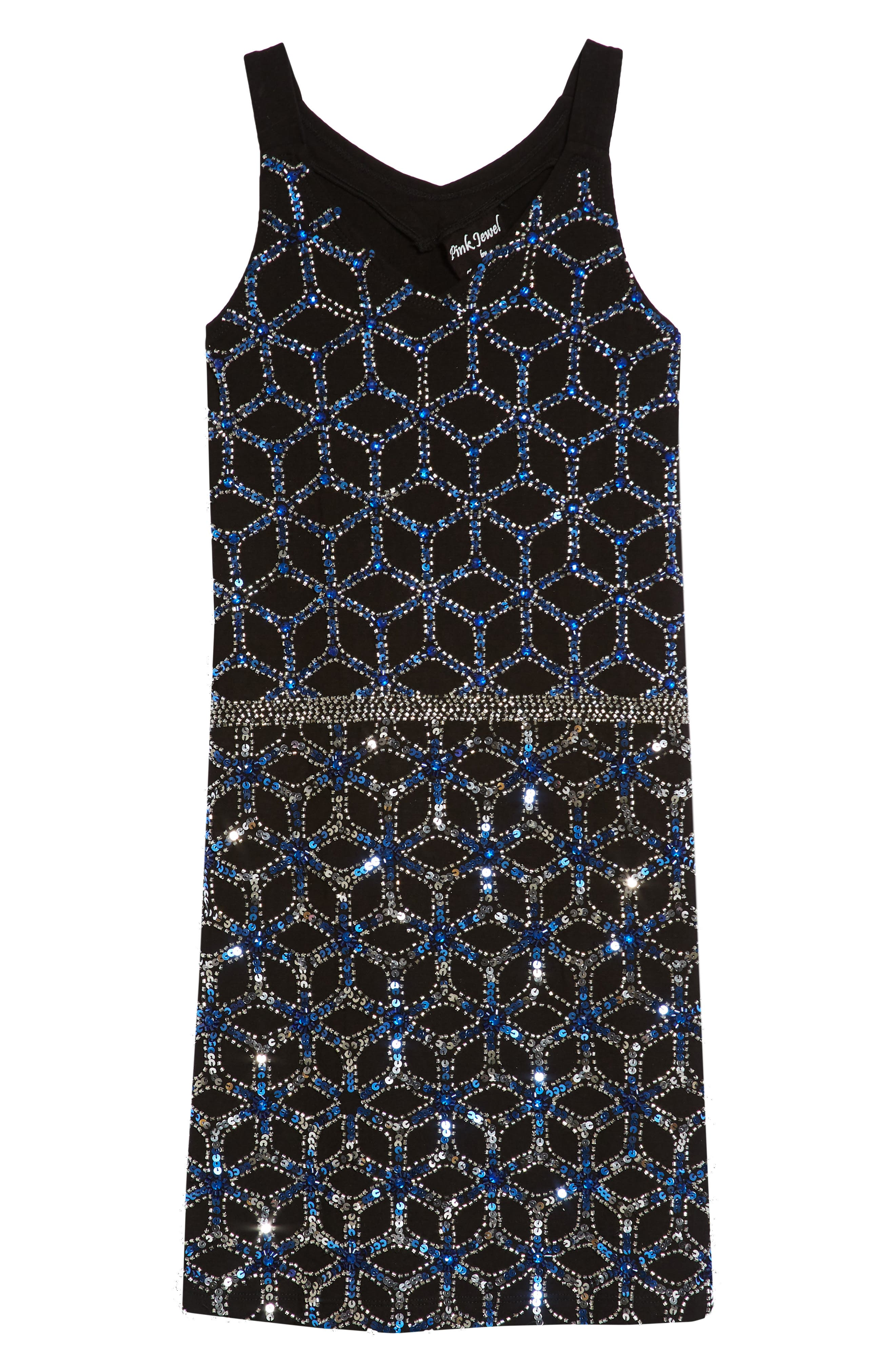 Sequined & Beaded Tank Dress,                             Main thumbnail 1, color,                             Black/ Blue