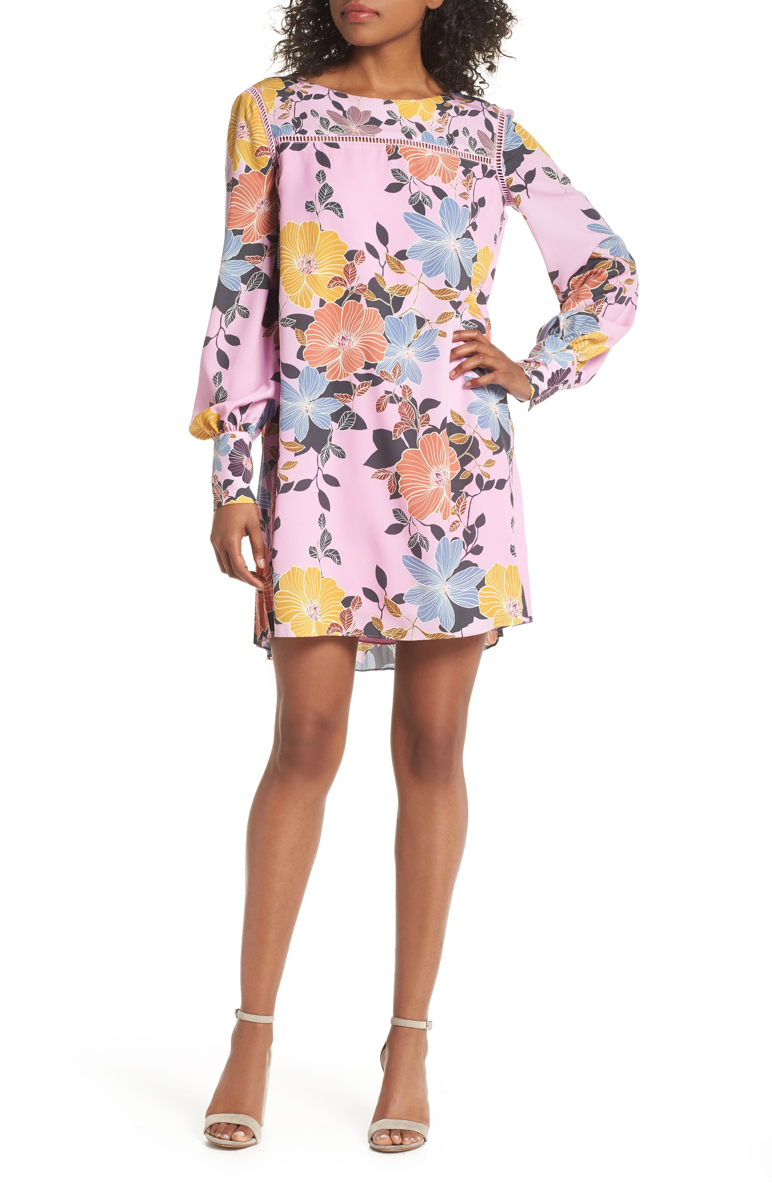 Shikoku Floral Crepe Shift Dress,                         Main,                         color, Violet Vice Multi