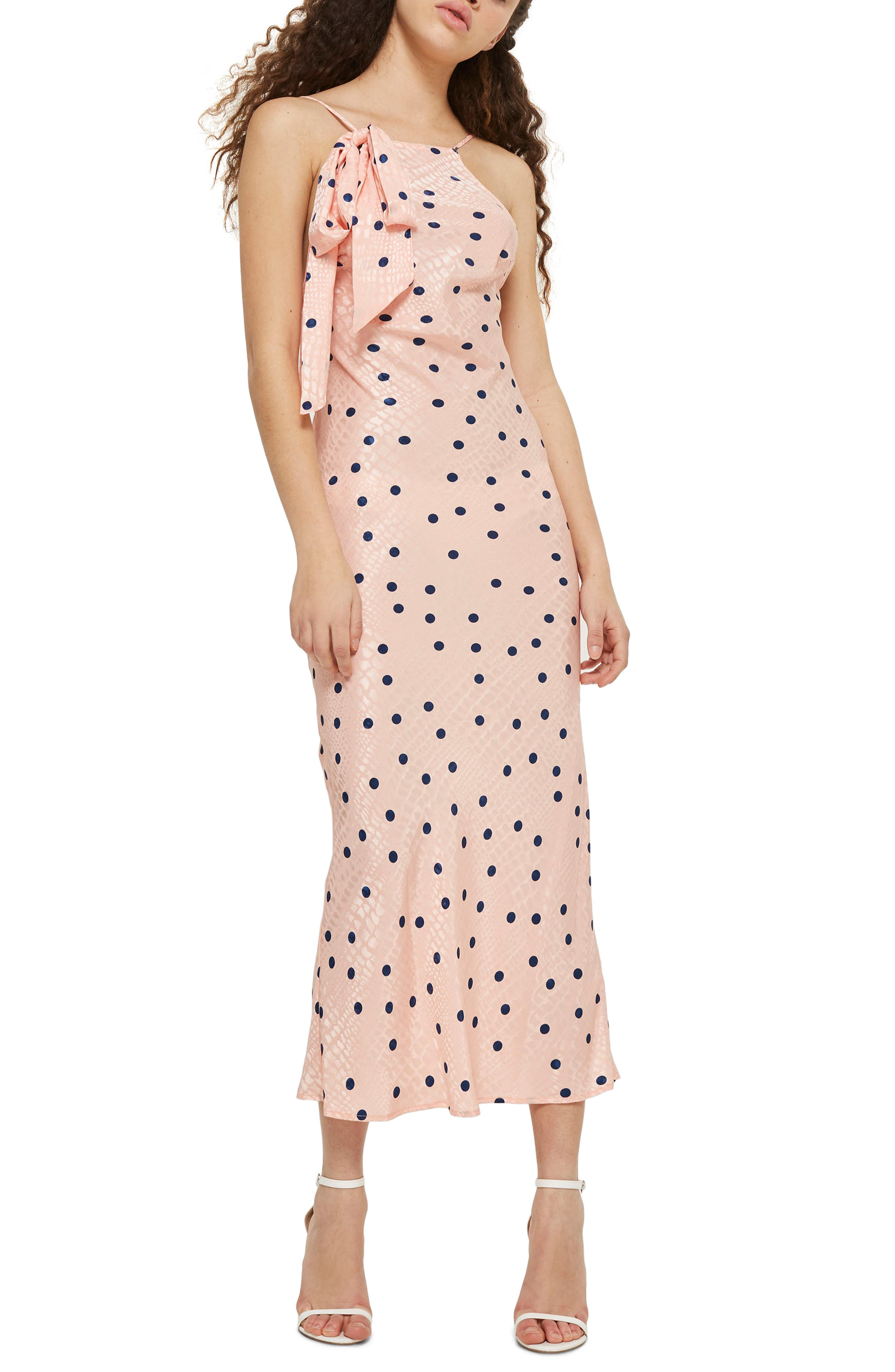 Spot Jacquard Maxi Slipdress,                             Main thumbnail 1, color,                             Pink Multi