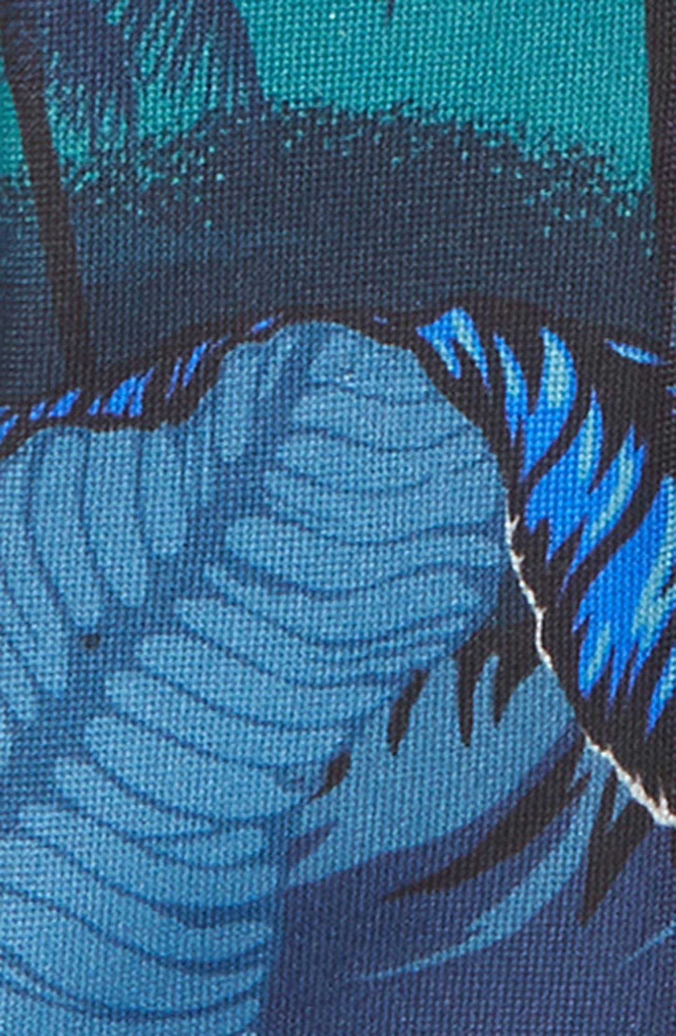 Leaf Print Silk Tie,                             Alternate thumbnail 2, color,                             Blue