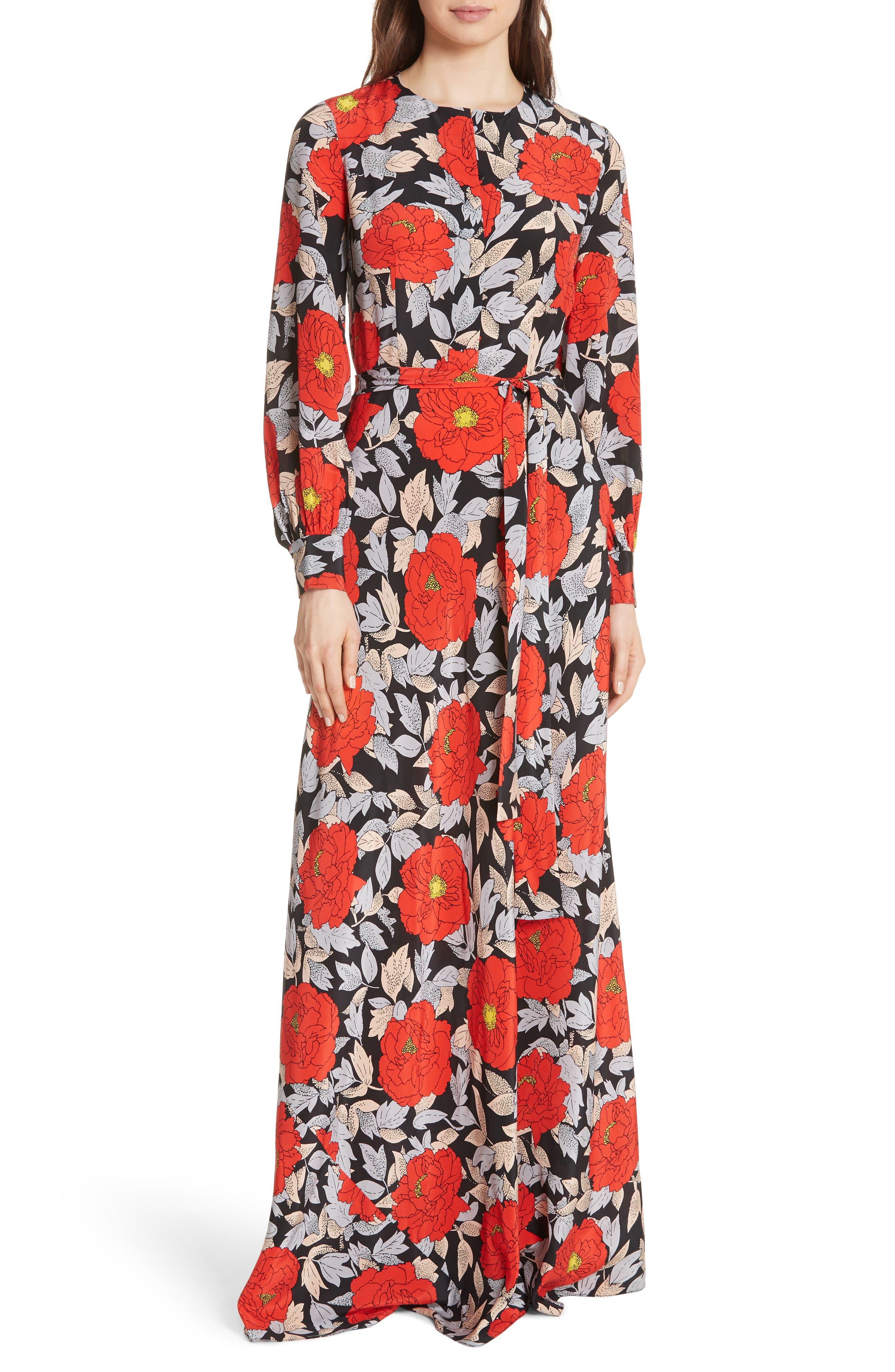Waist Tie Silk Maxi Dress,                             Main thumbnail 1, color,                             Boswell Black