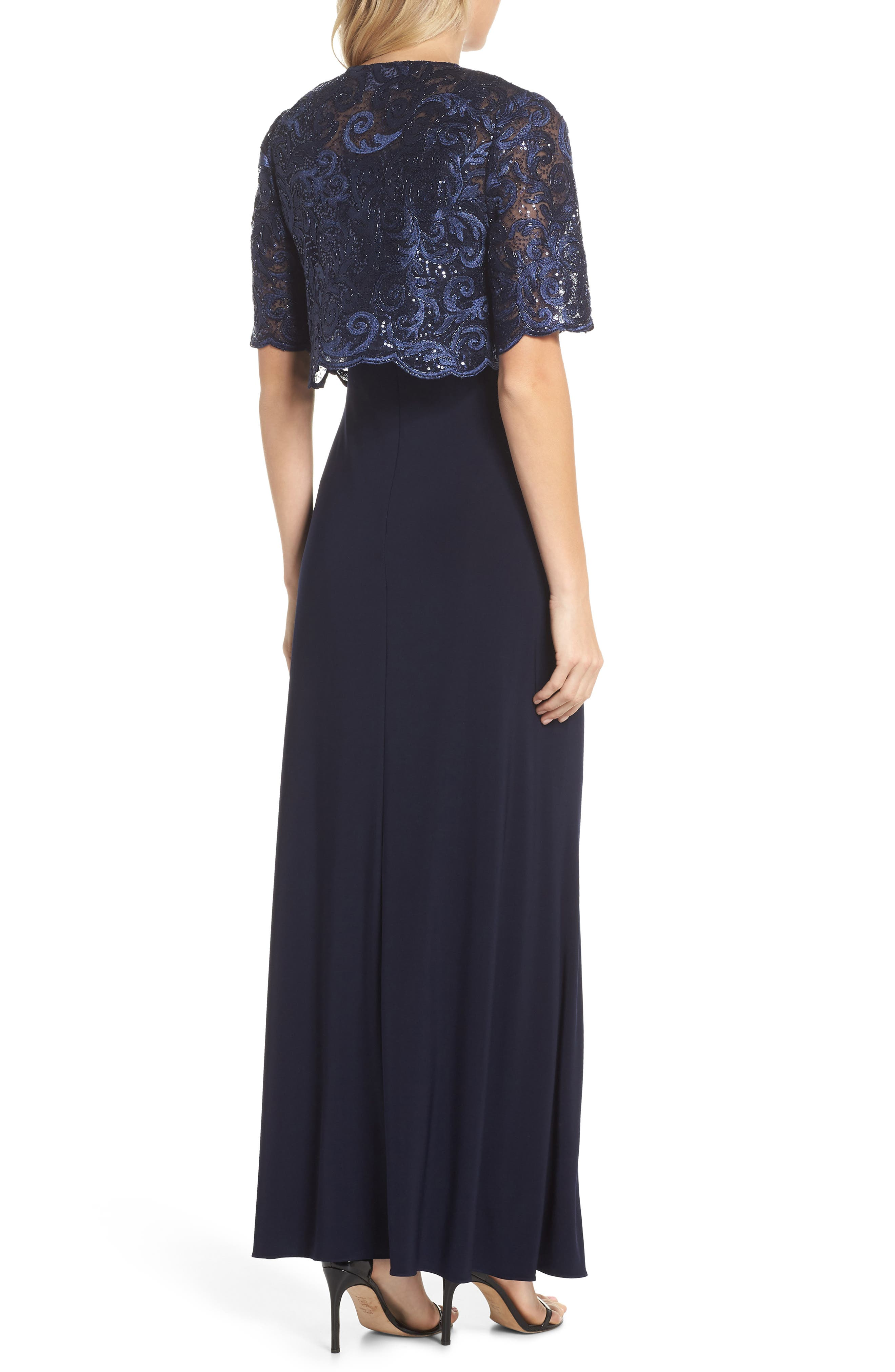 Sequin Embellished Gown with Bolero Jacket,                             Alternate thumbnail 4, color,                             Navy