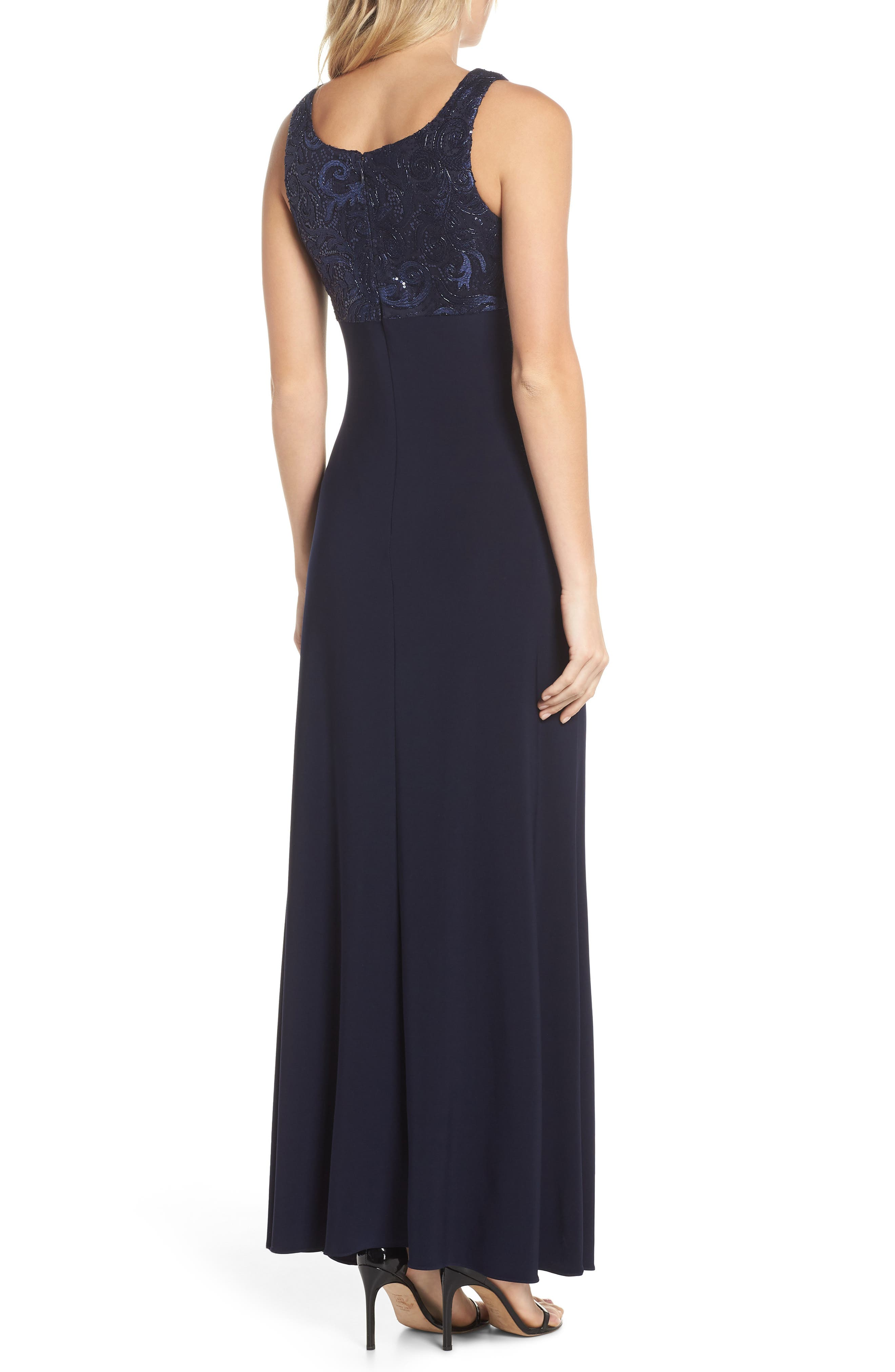 Sequin Embellished Gown with Bolero Jacket,                             Alternate thumbnail 3, color,                             Navy