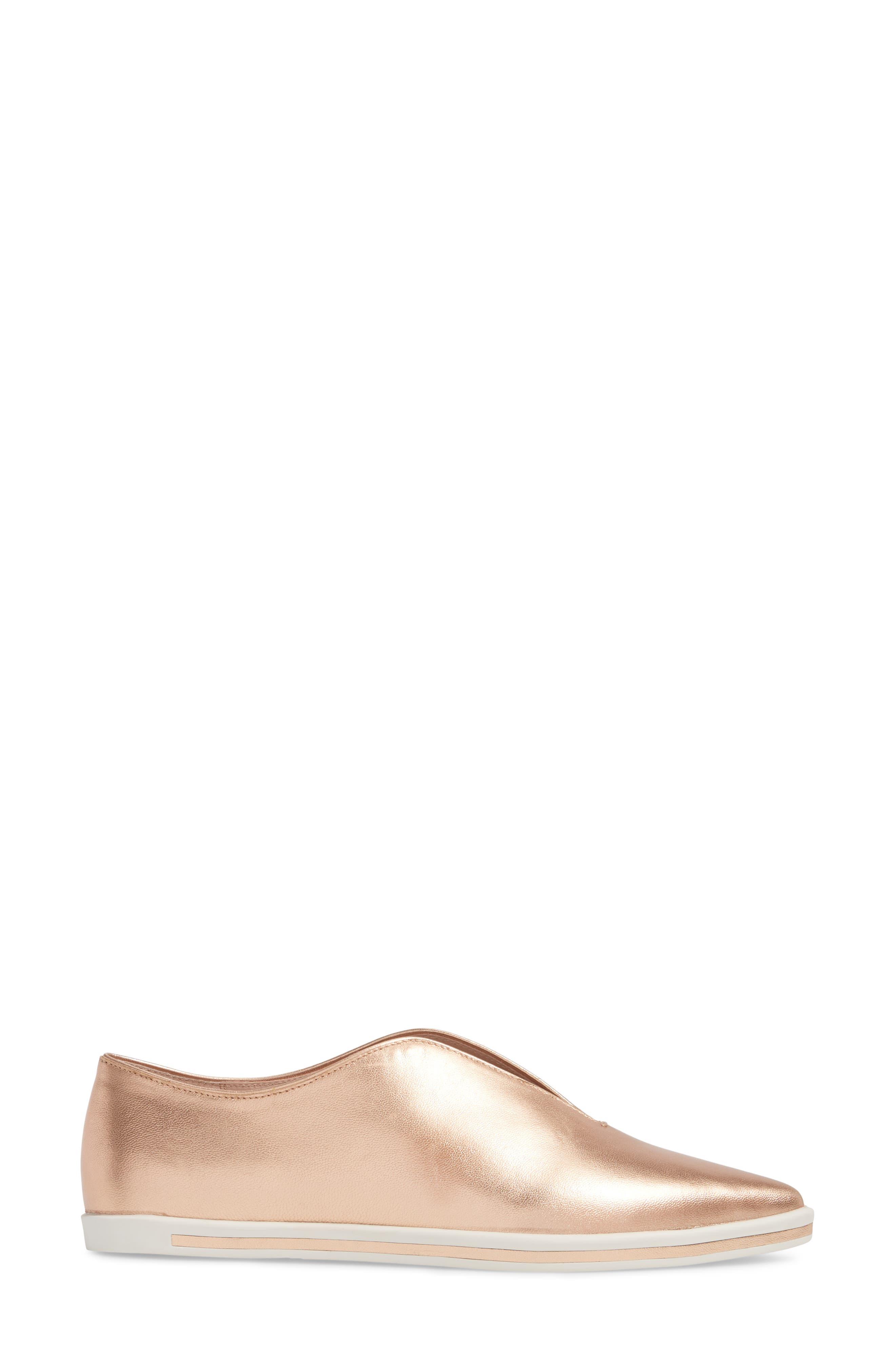 Tisha Slip-On Sneaker,                             Alternate thumbnail 3, color,                             Rose Gold Leather