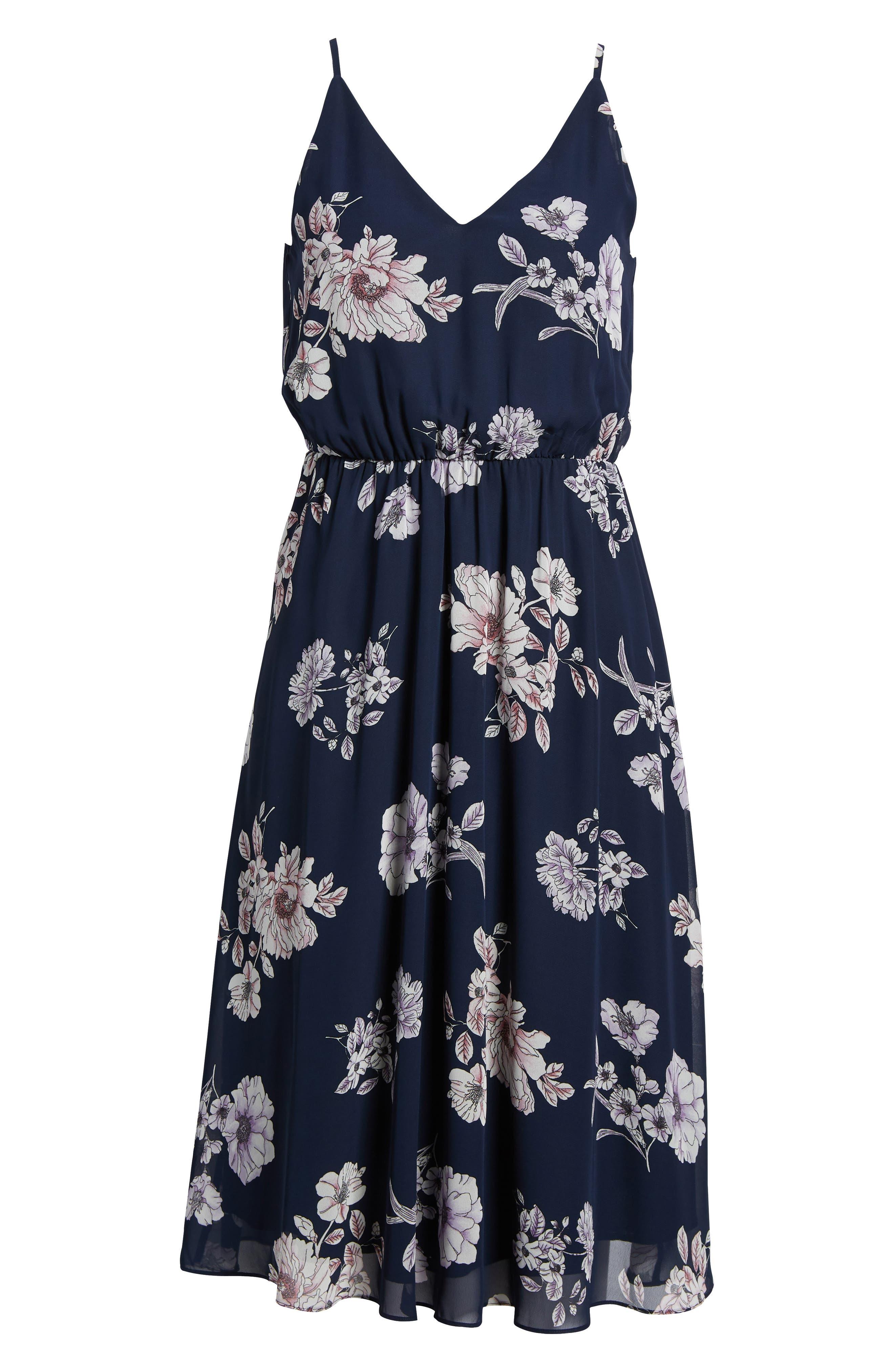 Floral Blouson Midi Dress,                             Alternate thumbnail 6, color,                             Navy