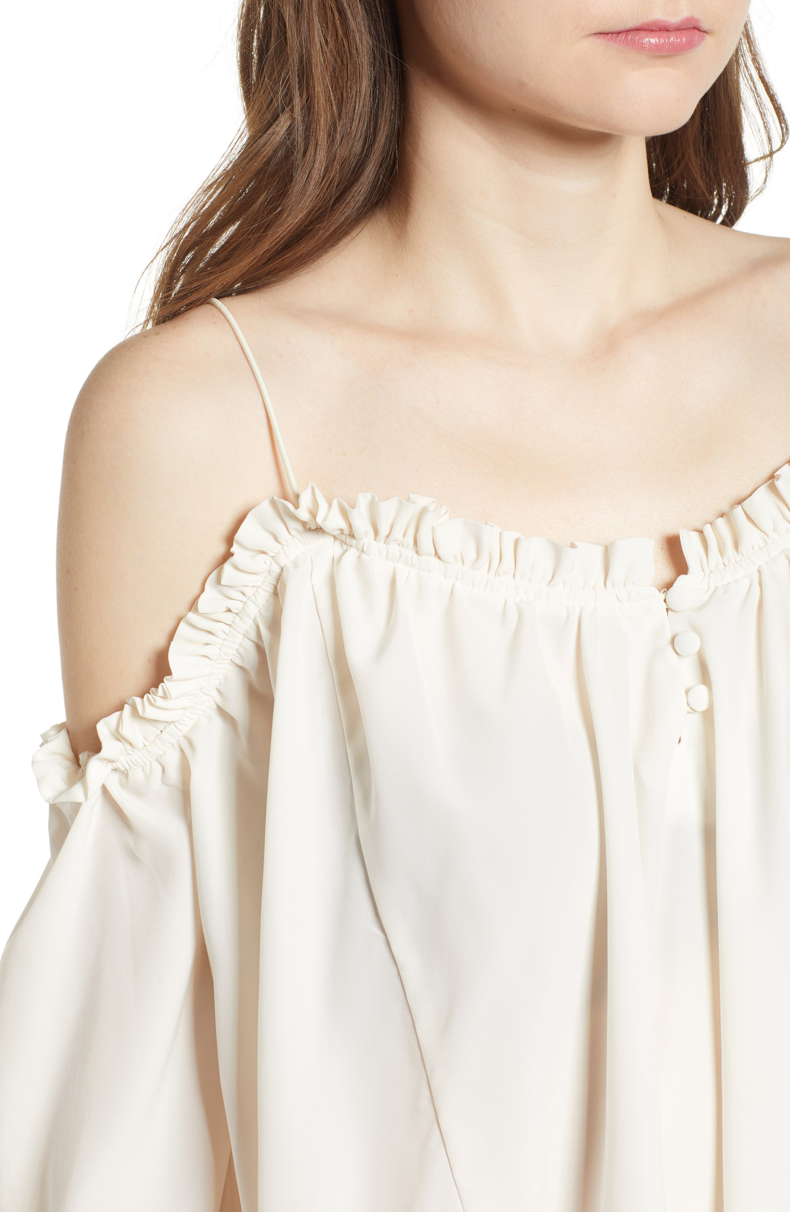 Cold Shoulder Blouson Top,                             Alternate thumbnail 4, color,                             Ivory Egret