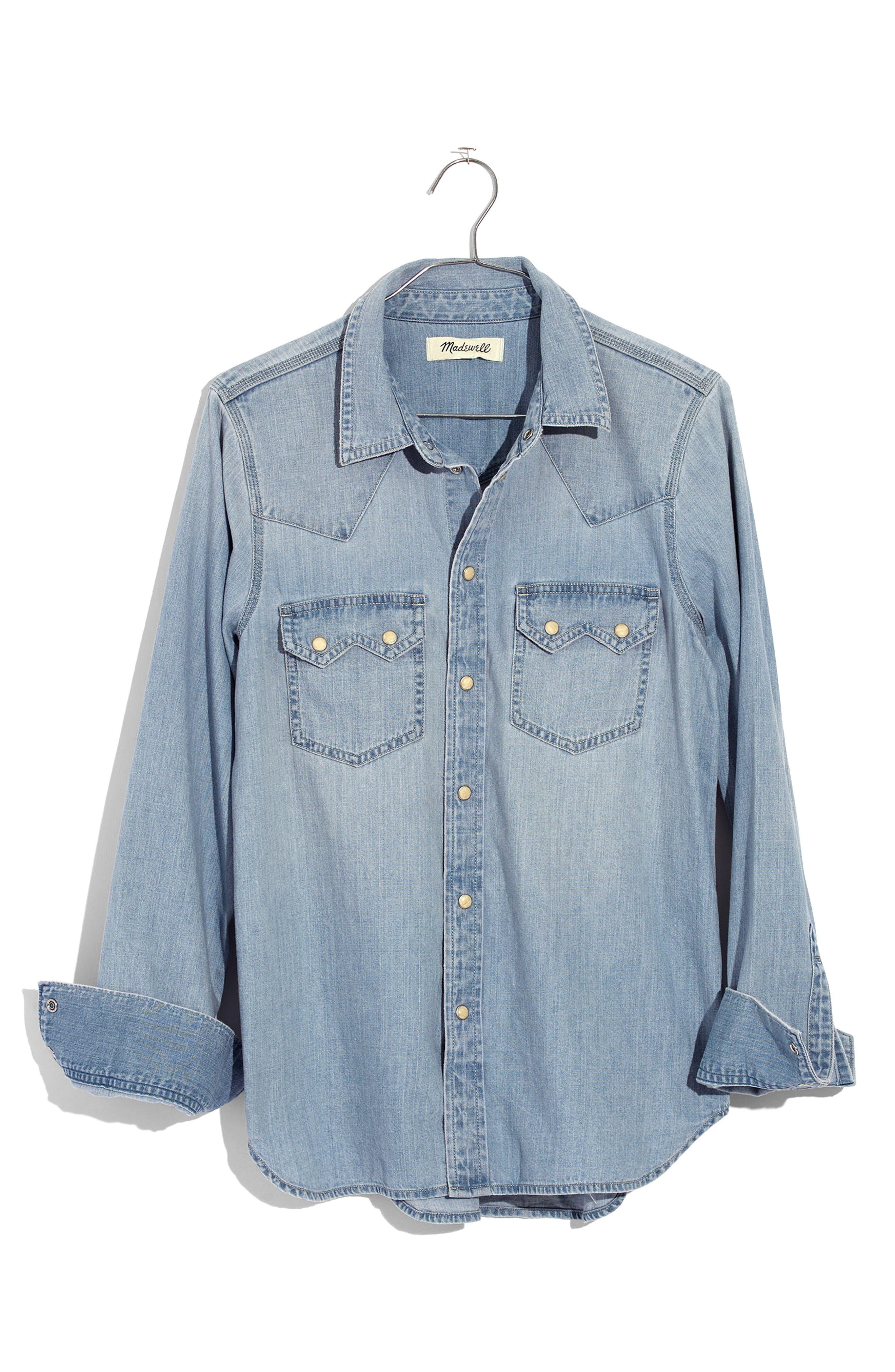Denim Western Shirt,                             Alternate thumbnail 3, color,                             Long Bourne Wash