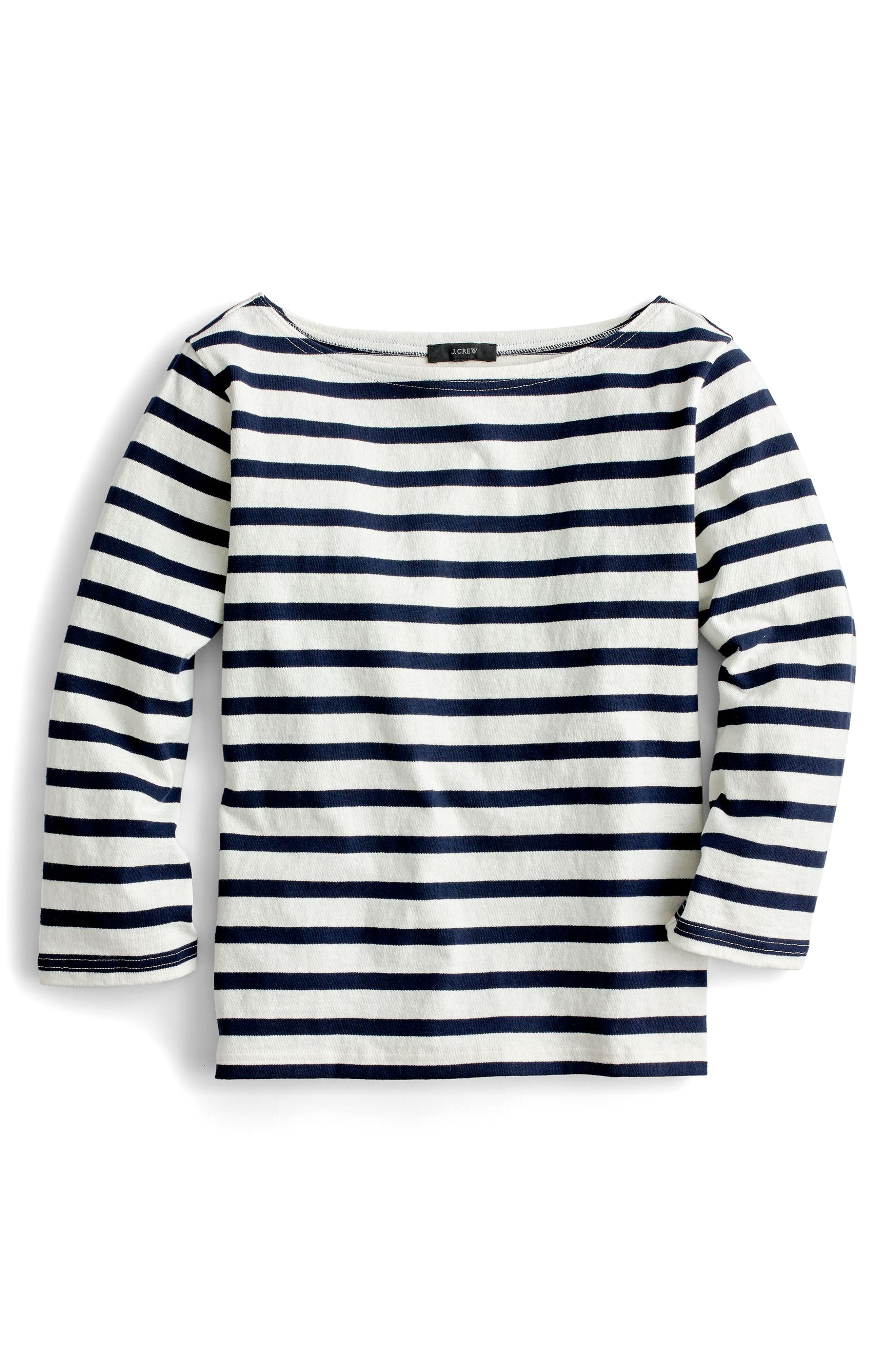 J.Crew Structured Stripe Tee,                             Alternate thumbnail 3, color,                             Ivory Navy