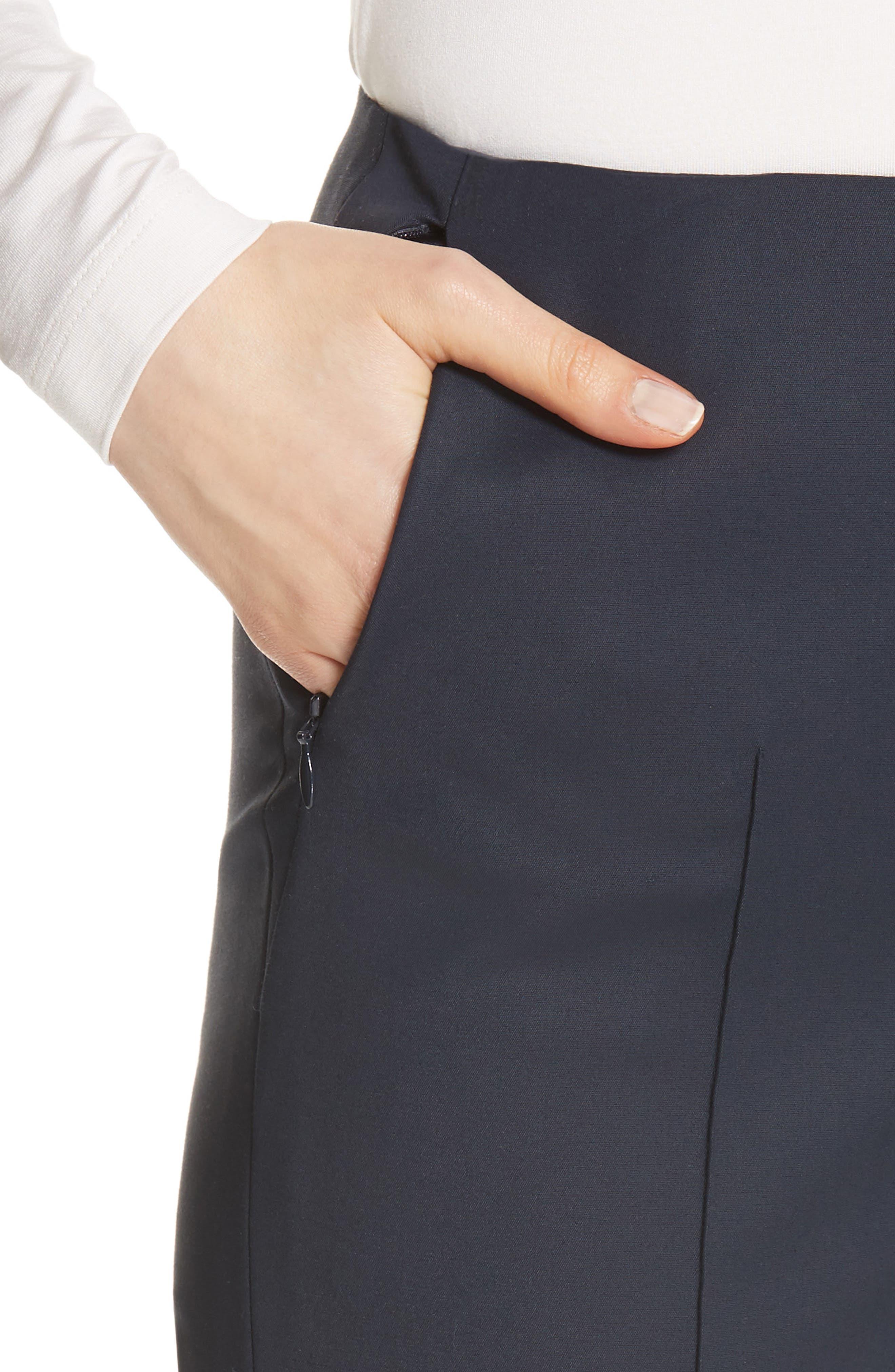 'Melissa' Slim Techno Cotton Ankle Pants,                             Alternate thumbnail 4, color,                             Navy