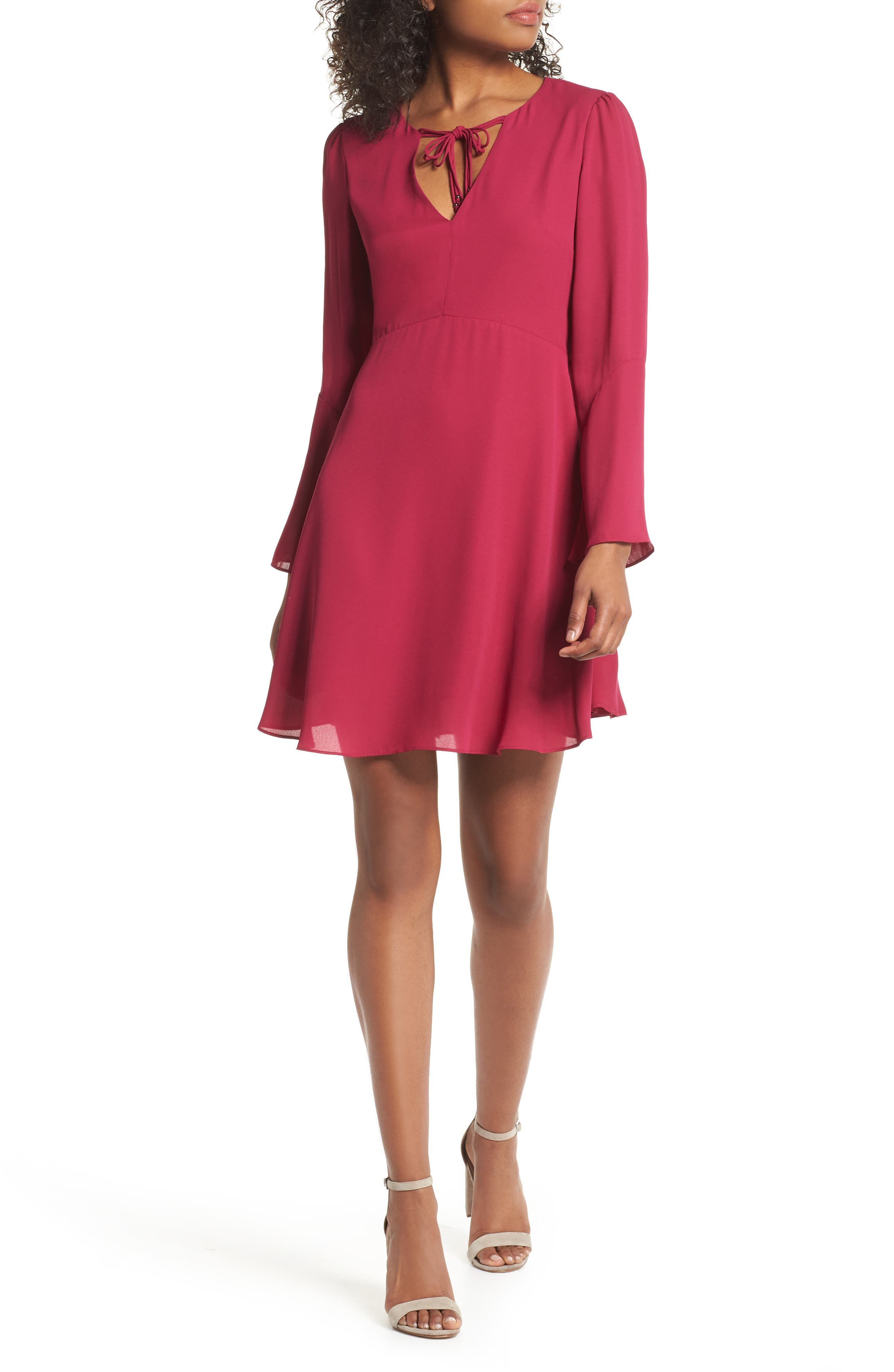 Trumpet Sleeve Dress,                         Main,                         color, Raspberry