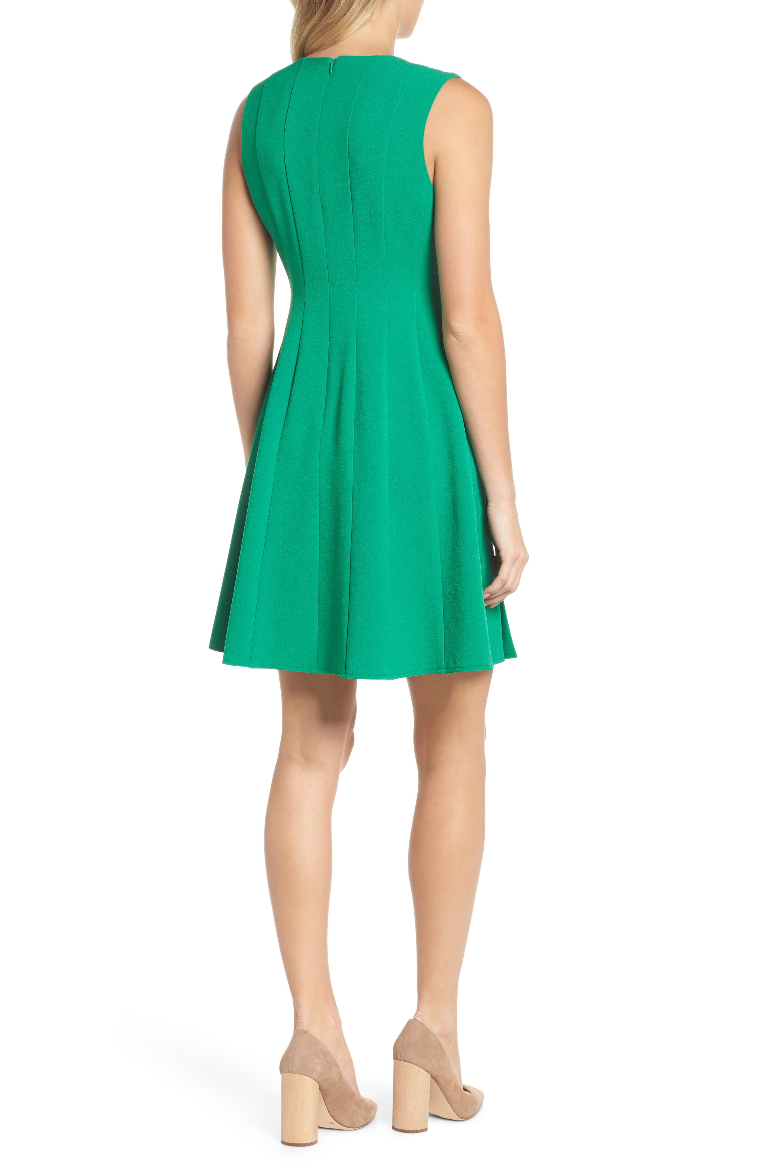 Sleeveless Pleat Panel Fit & Flare Dress,                             Alternate thumbnail 2, color,                             Green
