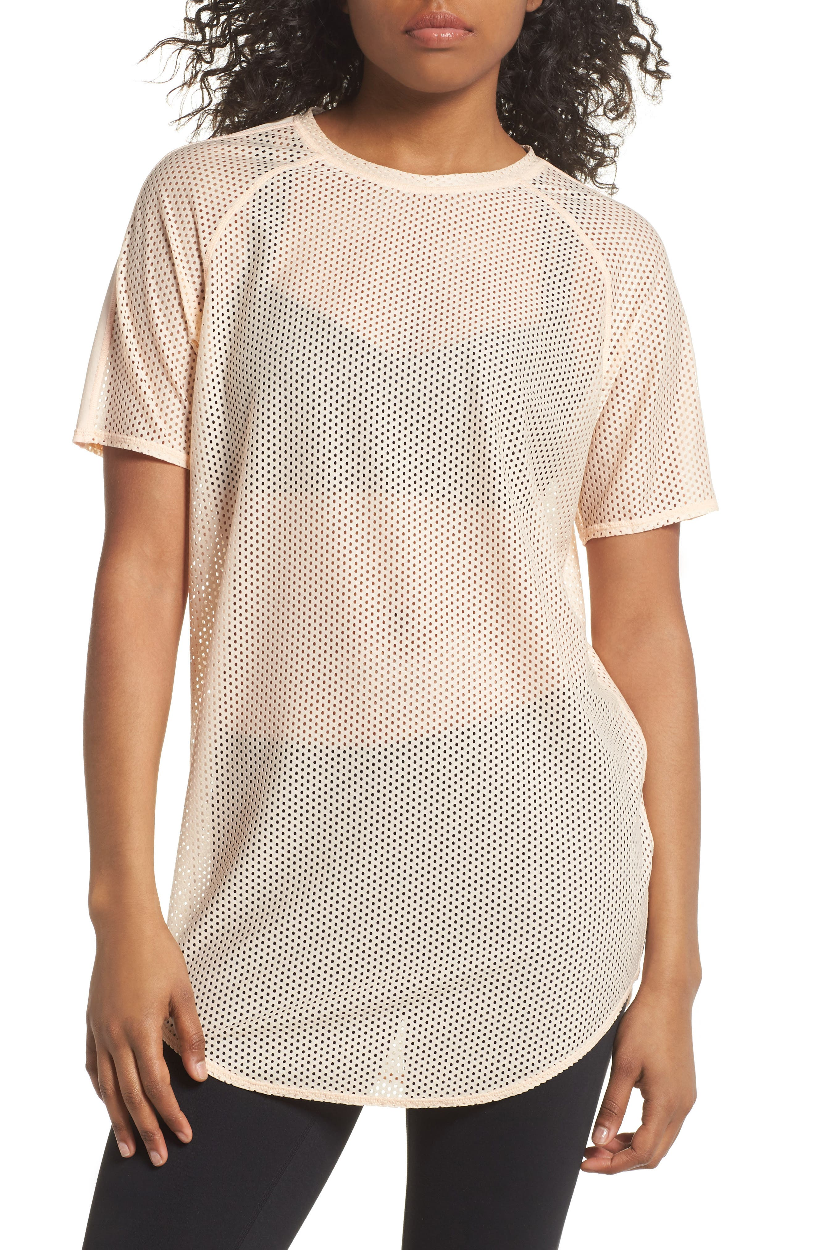 Throwback Mesh Tunic,                         Main,                         color, Coral Pale