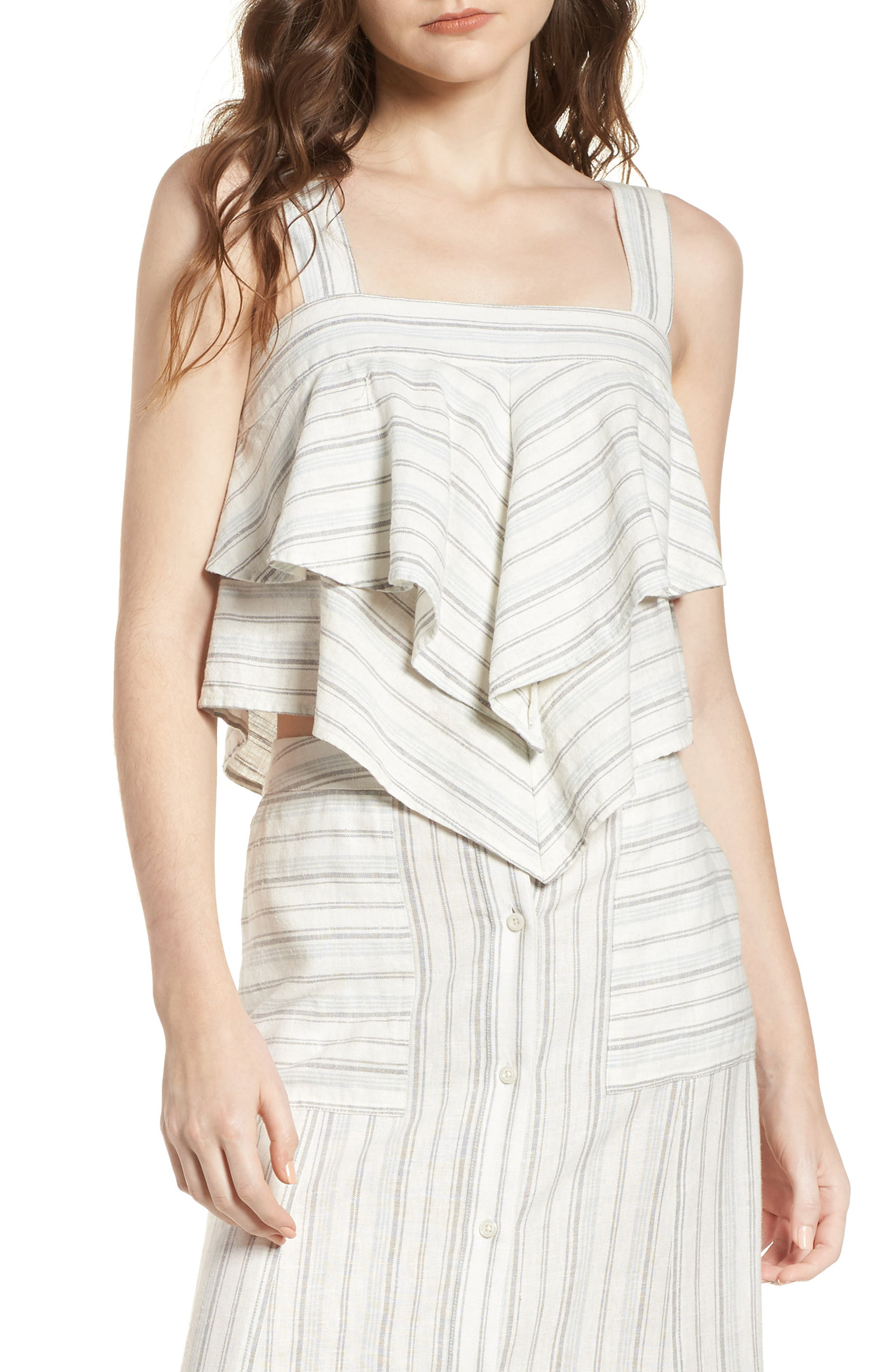 Tiered Linen Crop Top,                             Main thumbnail 1, color,                             Ivory Verigated Stripe
