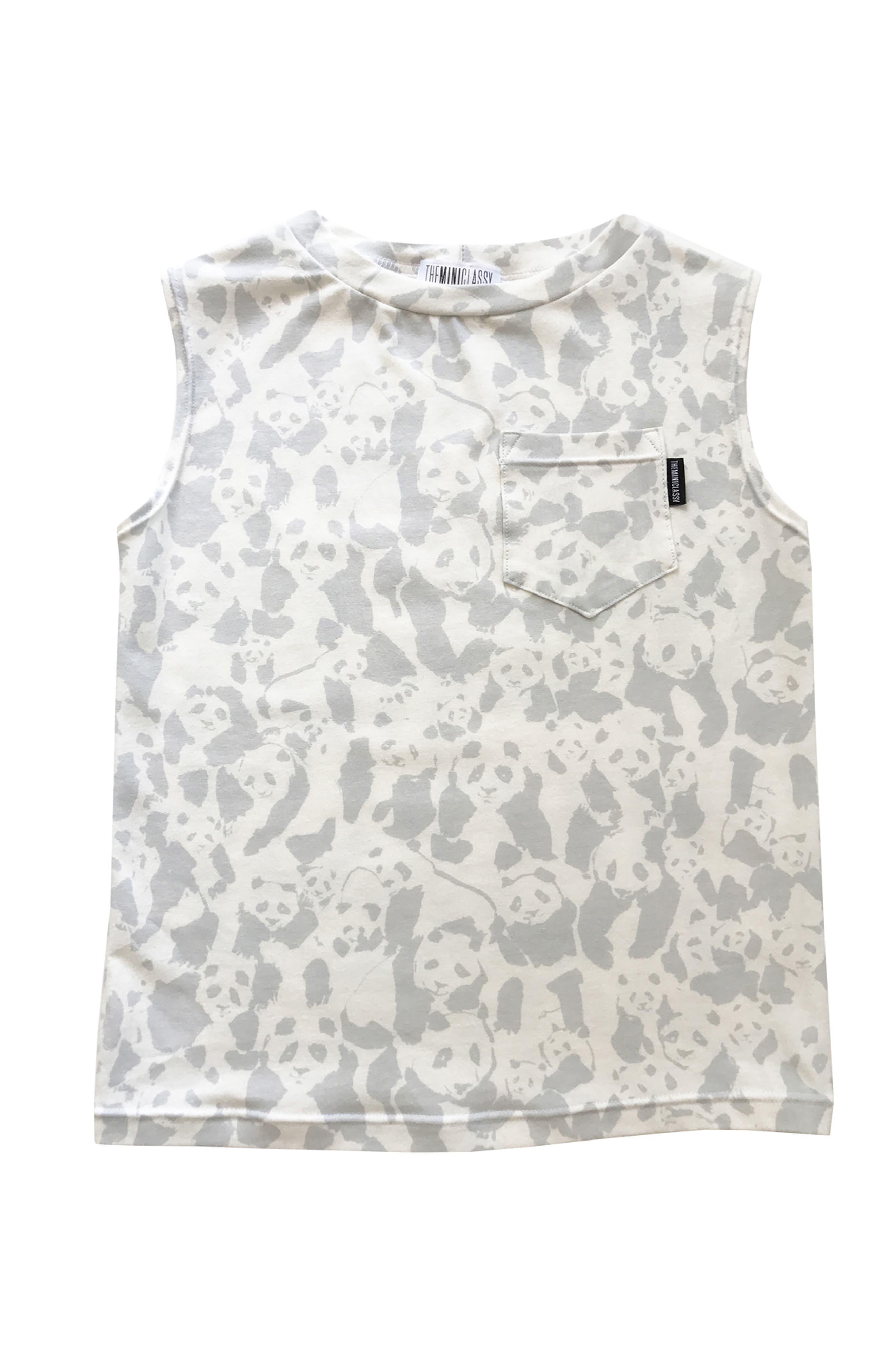 Panda Panda Muscle Tank,                         Main,                         color, Grey/ White