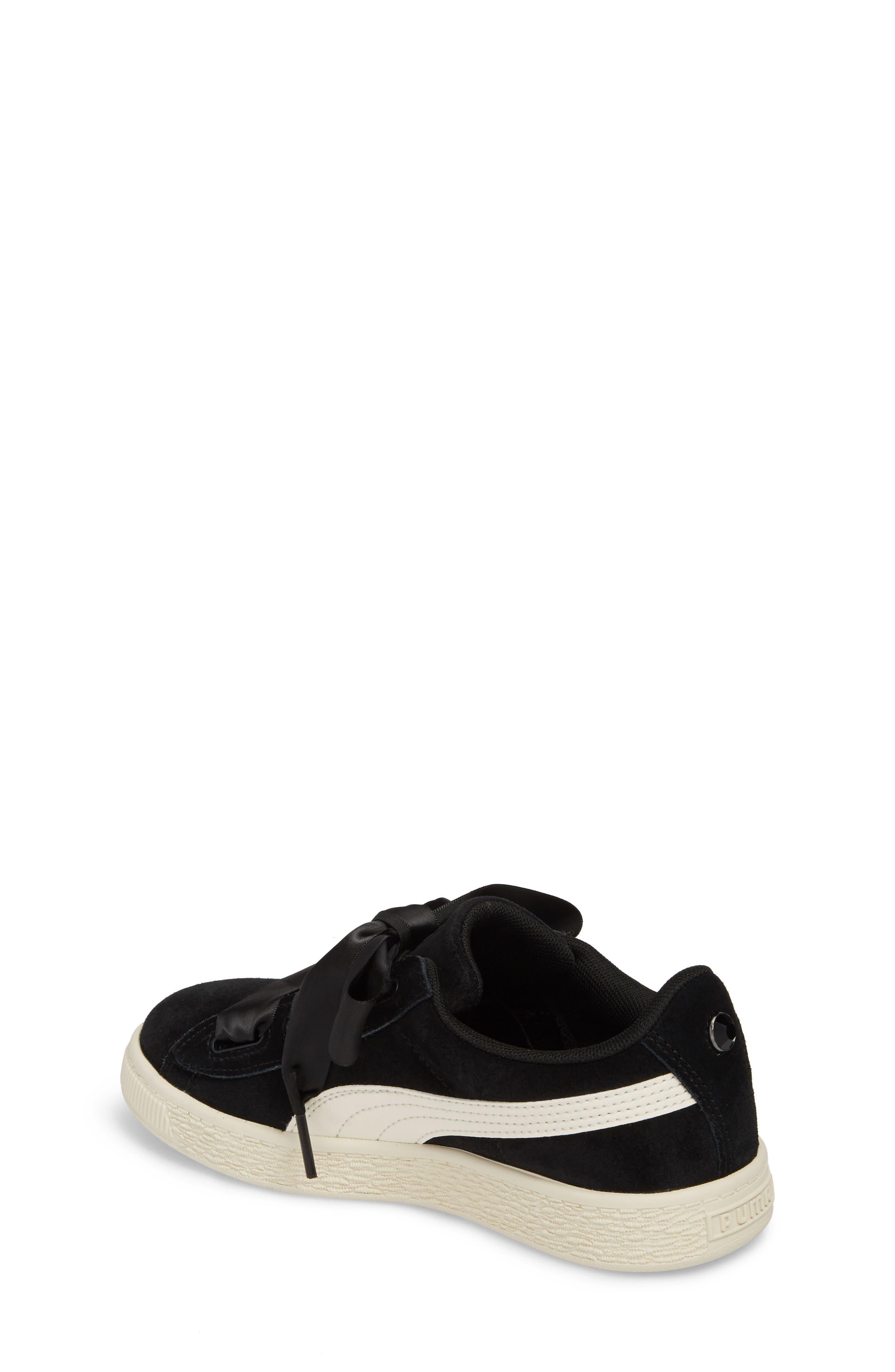 Suede Heart Sneaker,                             Alternate thumbnail 2, color,                             Puma Black/ Whisper White
