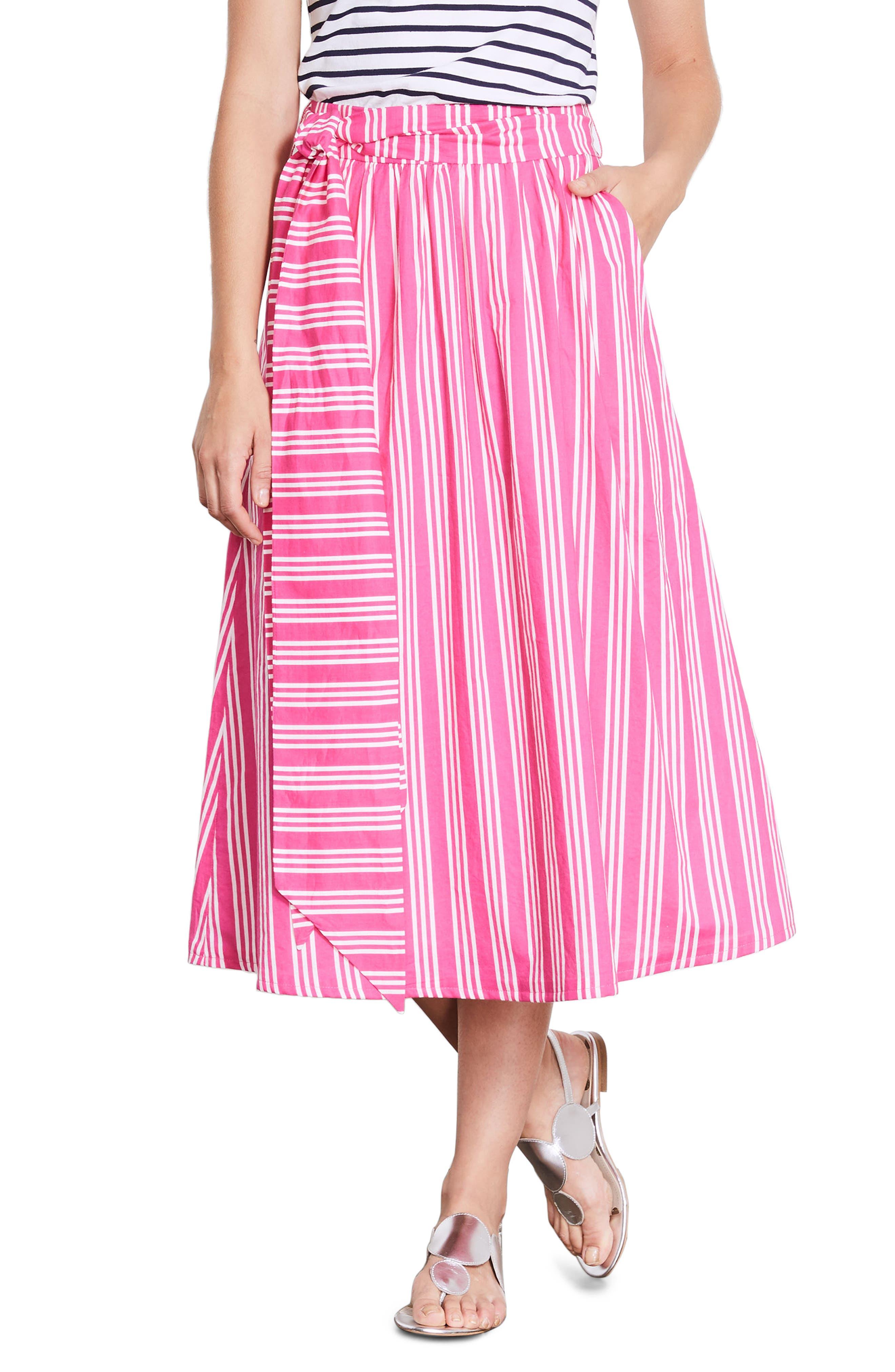 Kiera Midi Skirt,                             Main thumbnail 1, color,                             Party Pink And Ecru