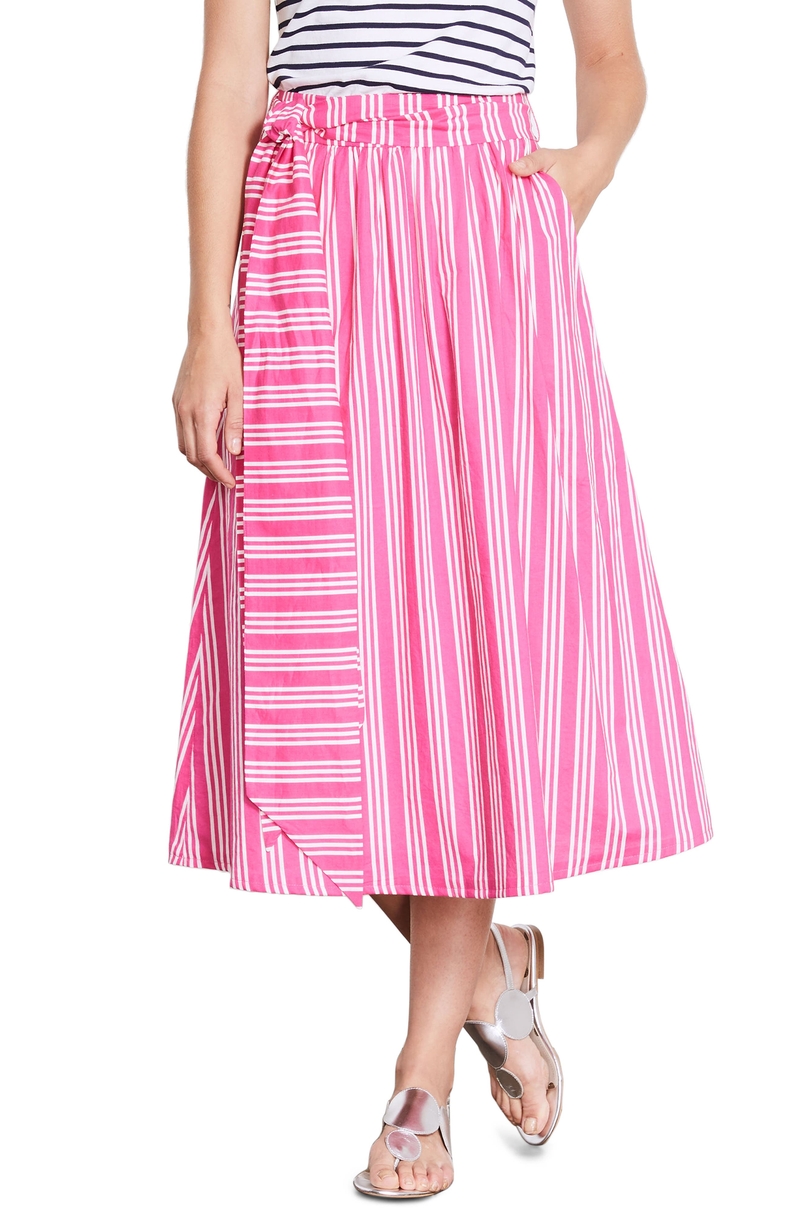 Kiera Midi Skirt,                         Main,                         color, Party Pink And Ecru