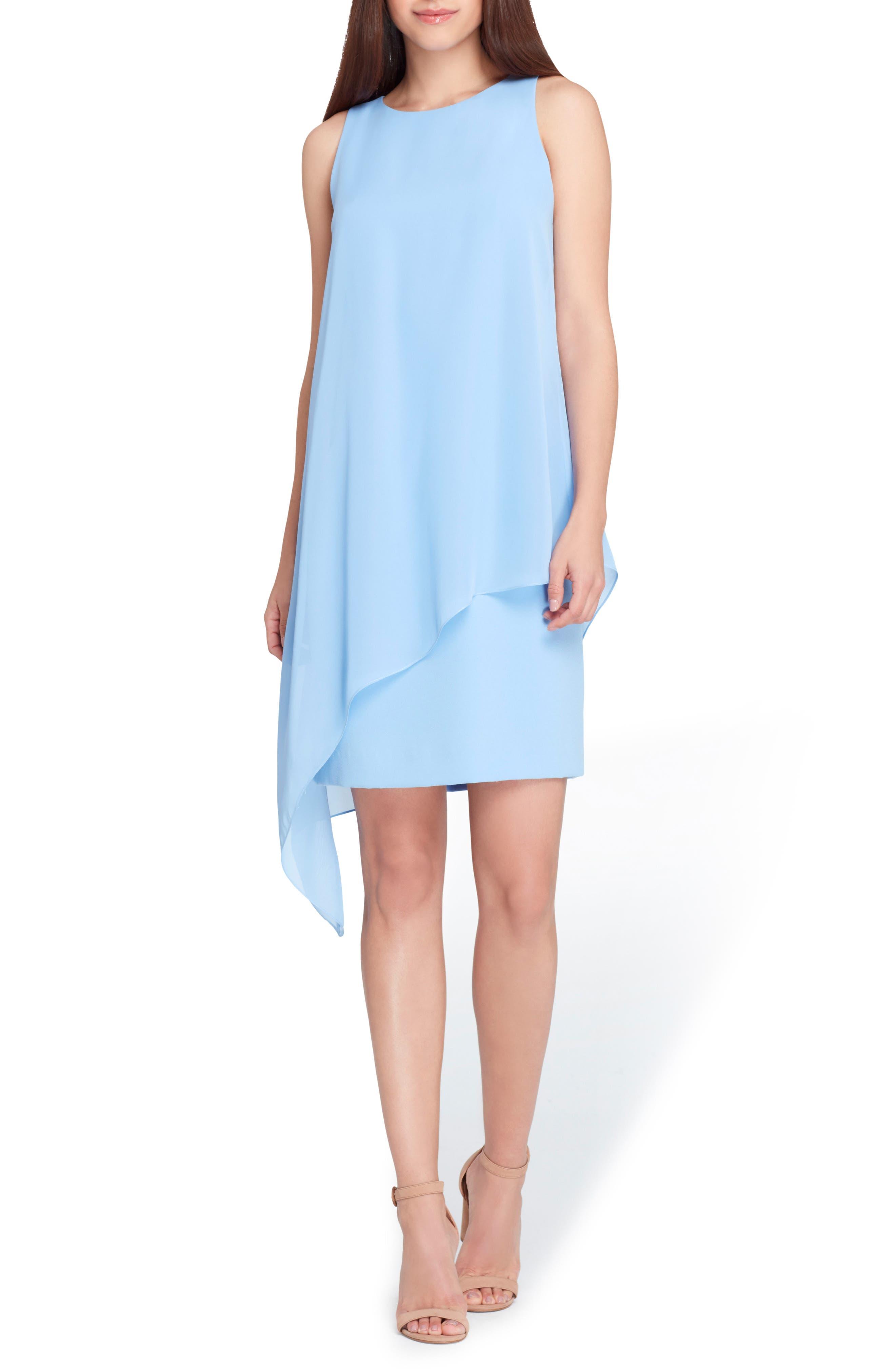 Sleeveless Chiffon Overlay Shift Dress,                             Main thumbnail 1, color,                             Cornflower Blue
