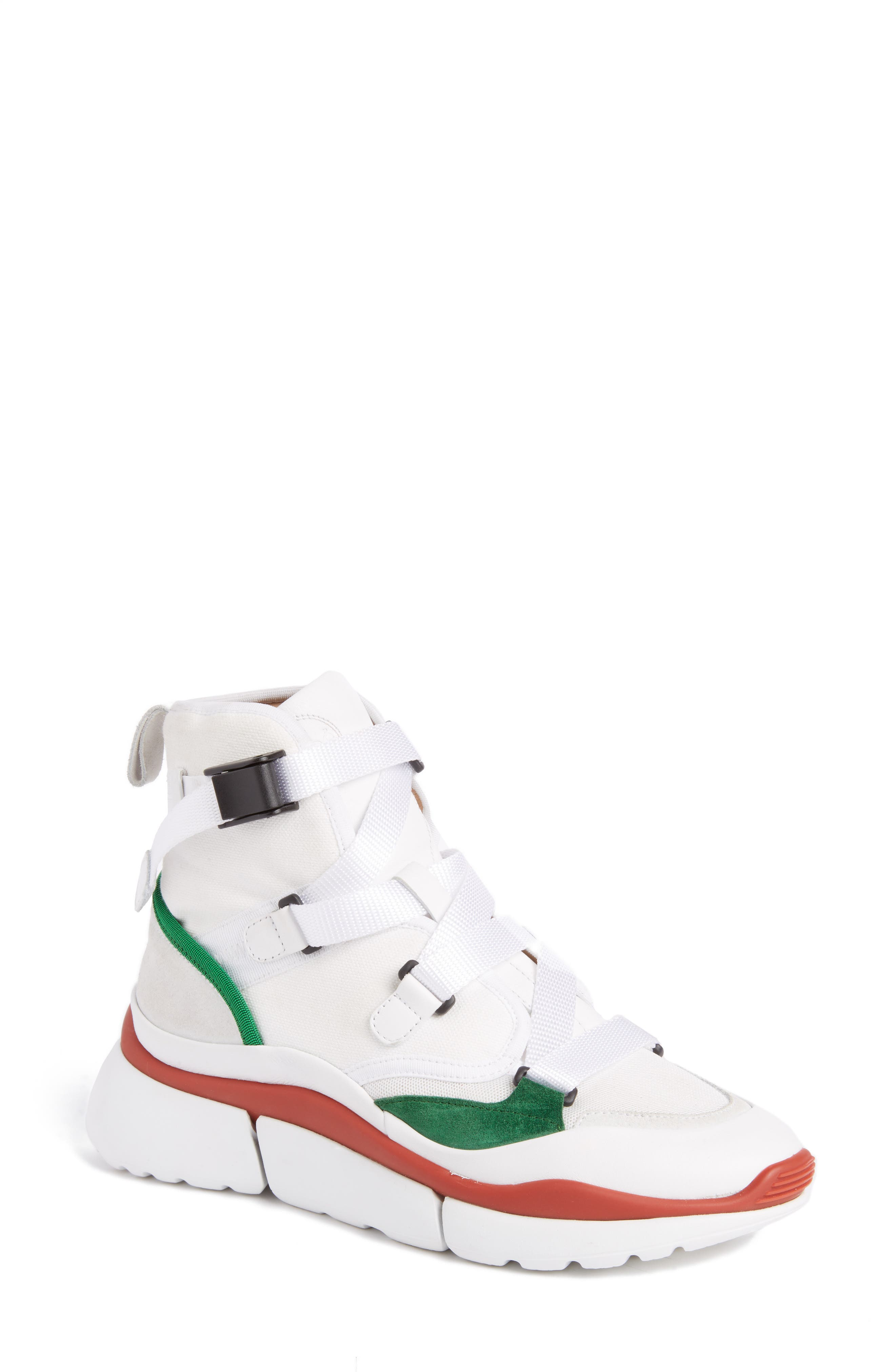 Sonnie High Top Sneaker,                             Main thumbnail 1, color,                             White/ Green/ Red