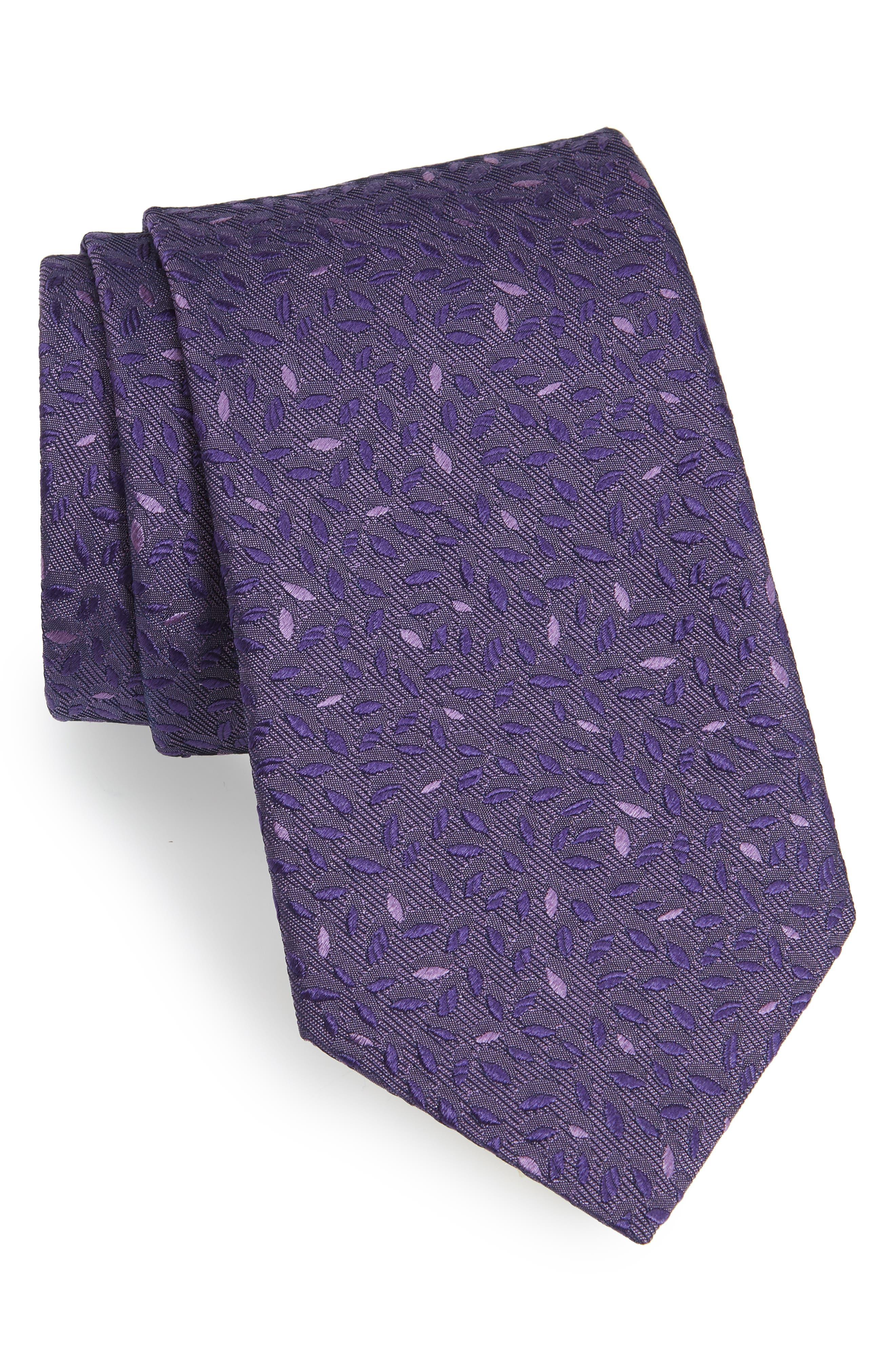 Leaves Silk Tie,                         Main,                         color, Purple