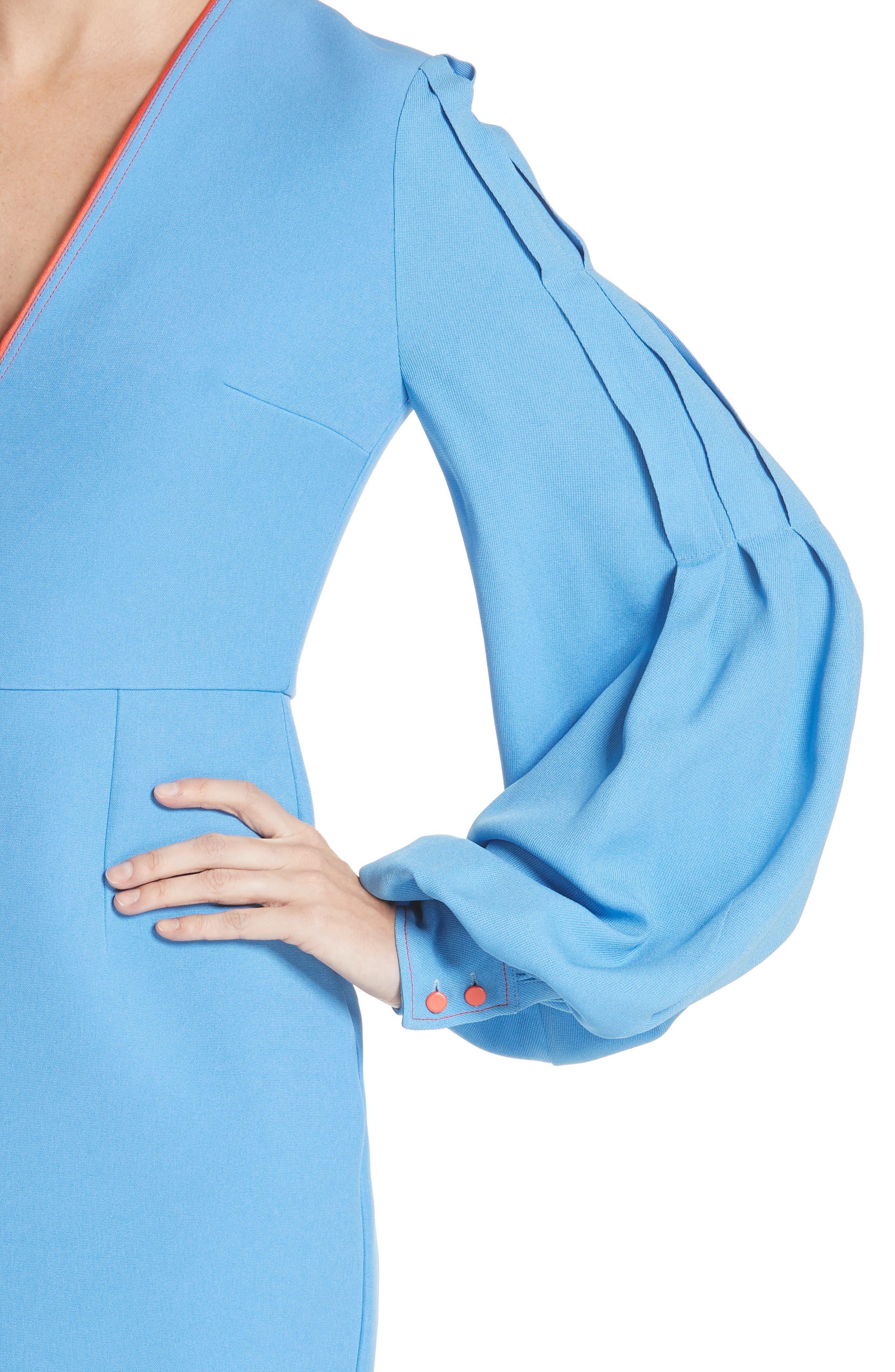 Essi Balloon Sleeve Crepe Satin Dress,                             Alternate thumbnail 4, color,                             Agapanthus