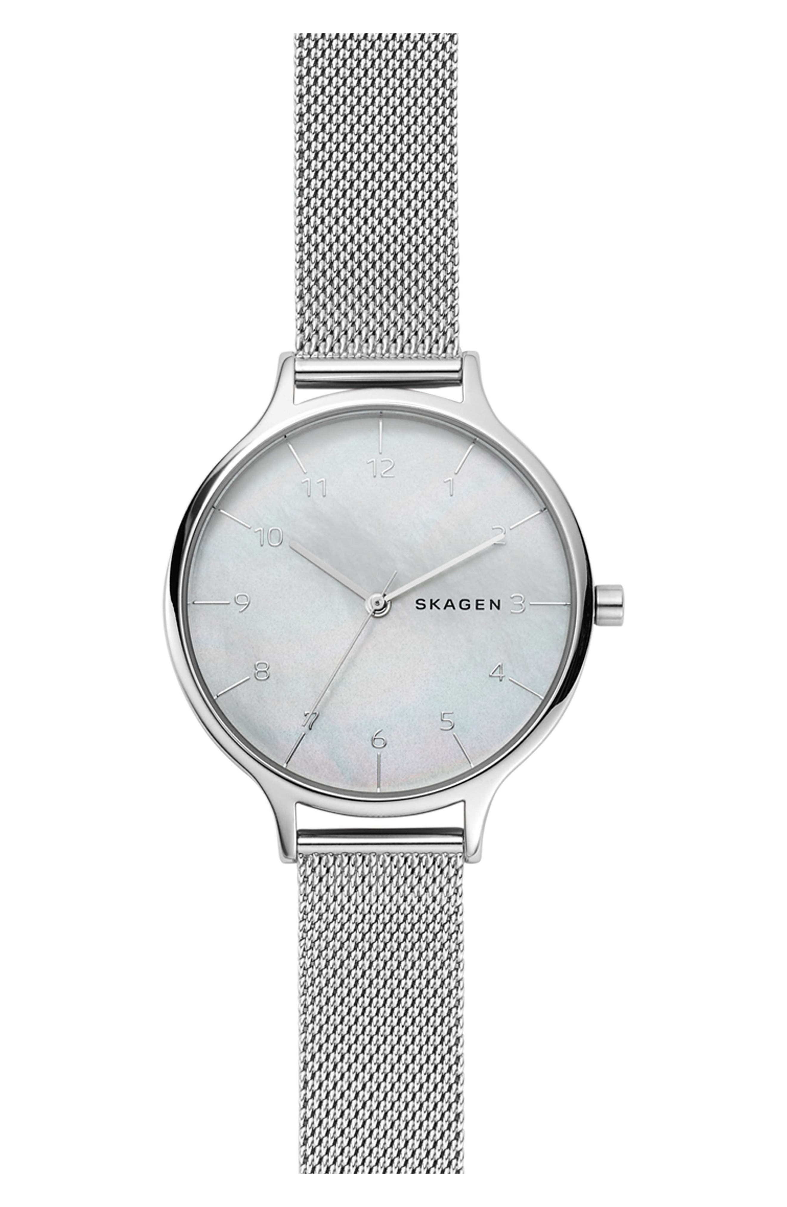 Anita Mesh Strap Watch, 36mm,                             Main thumbnail 1, color,                             Silver/ Mop/ Silver