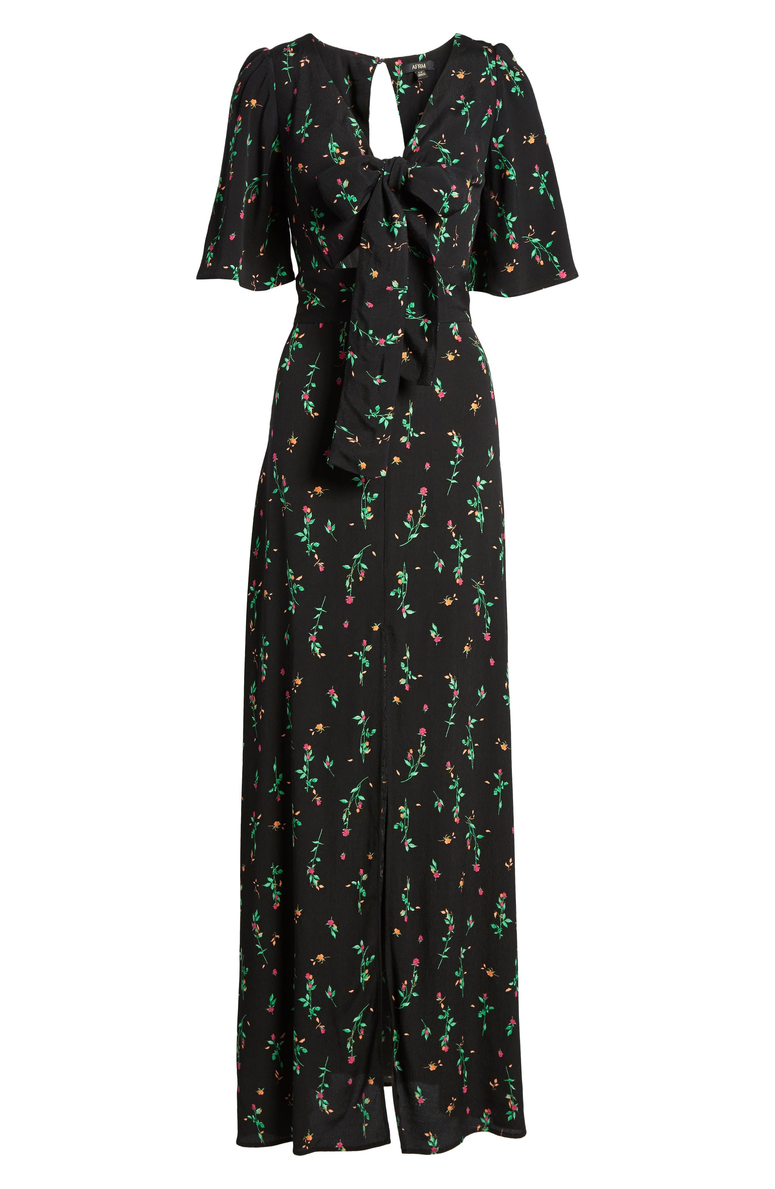 Ramon Tie Front Maxi Dress,                             Alternate thumbnail 6, color,                             Noir Rose Ditsy