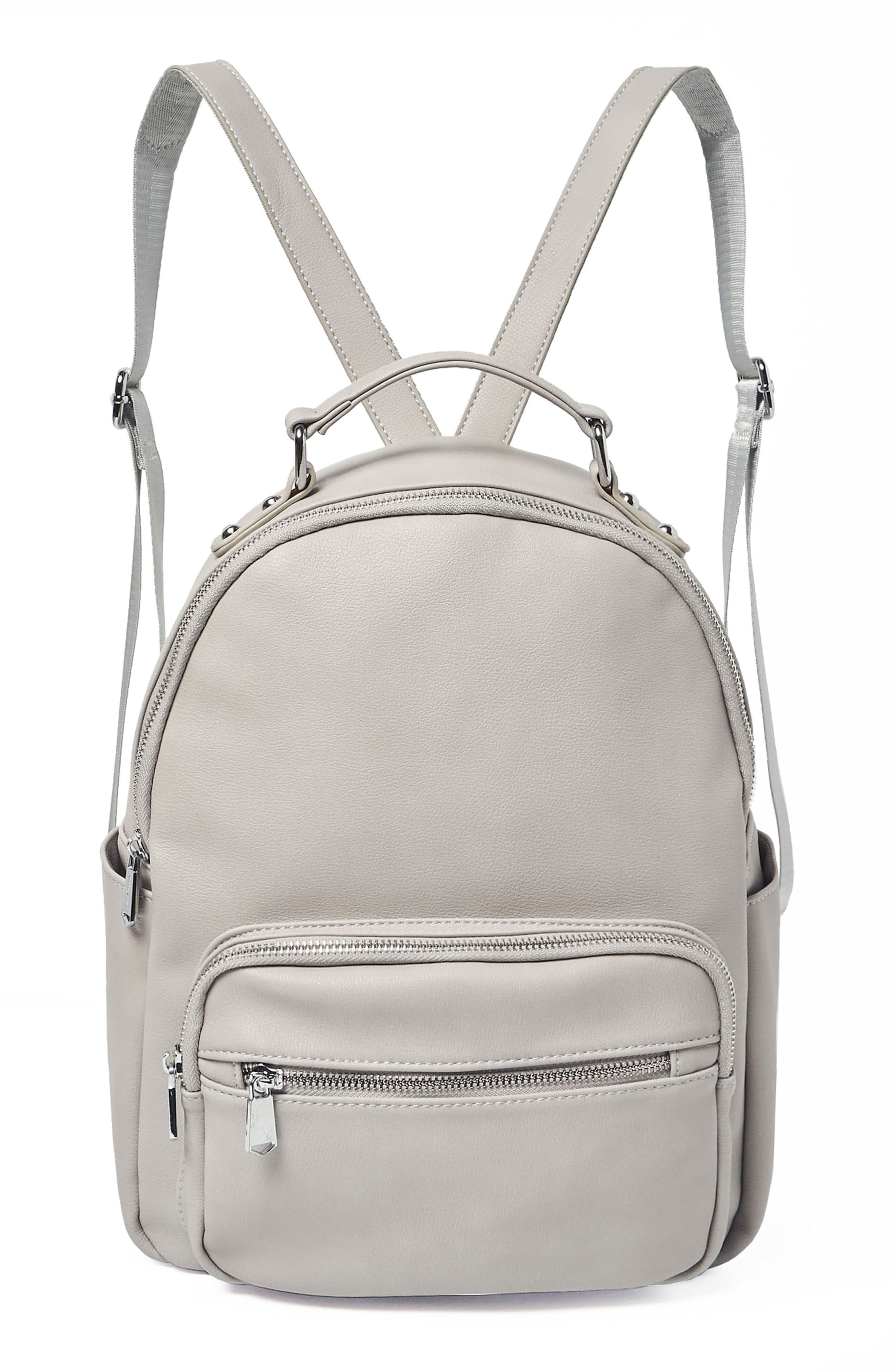 On My Own Vegan Leather Backpack,                         Main,                         color, Grey