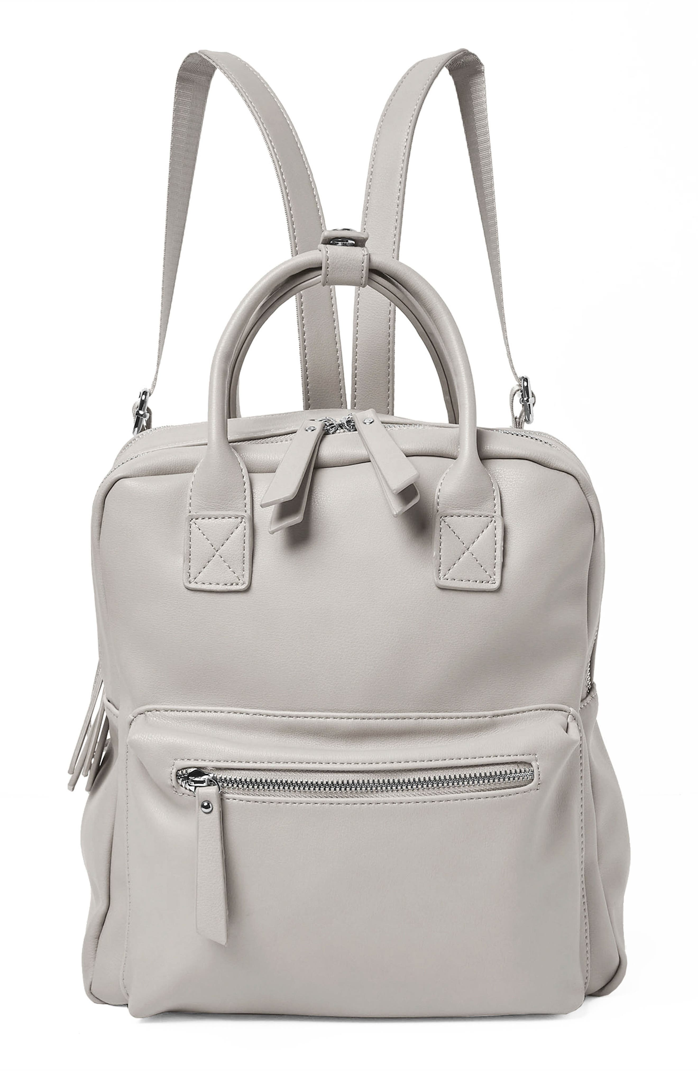 Over Exposure Vegan Leather Backpack,                             Main thumbnail 1, color,                             Grey