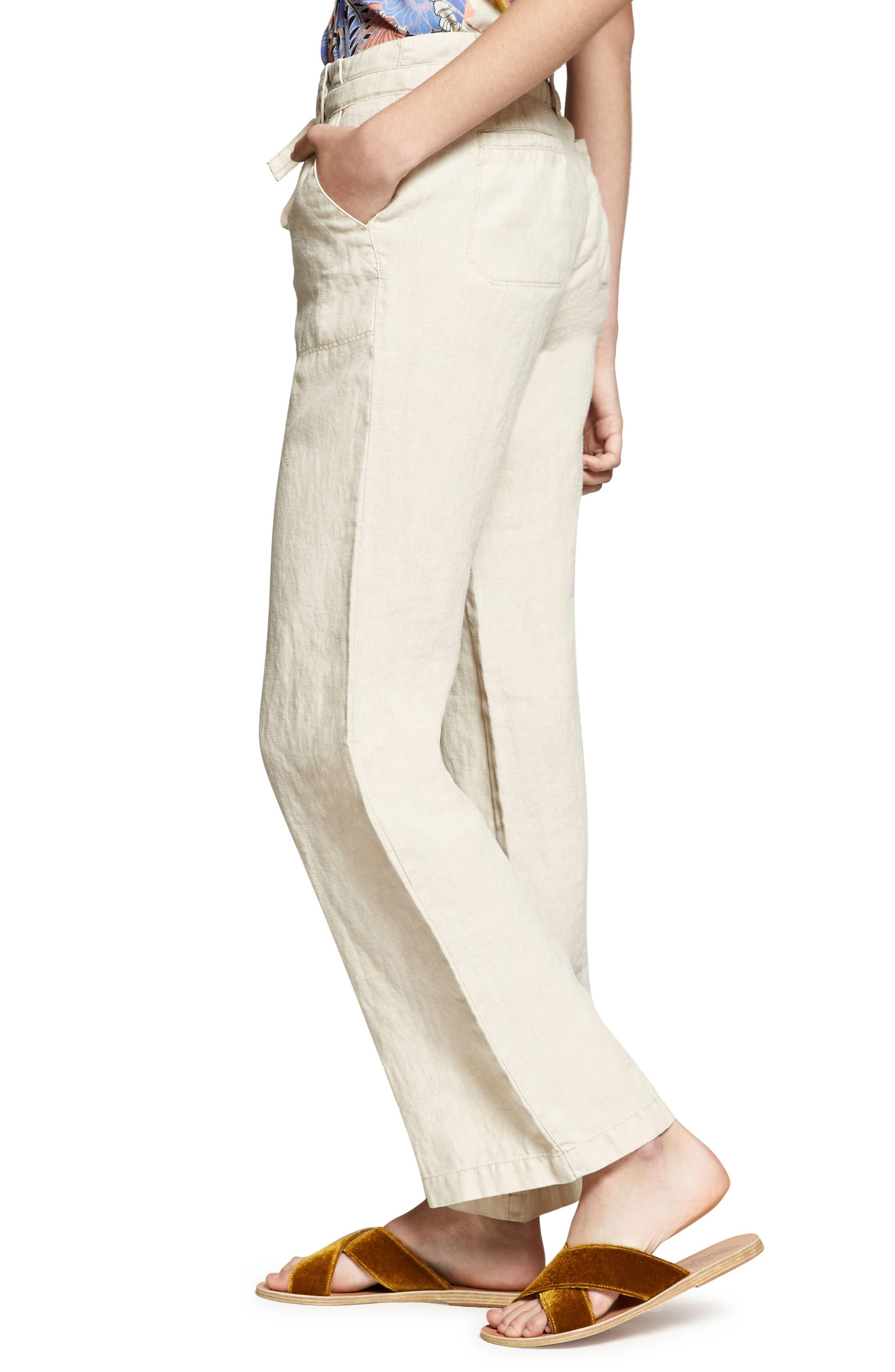 Shore Line Wide Leg Linen Pants,                             Alternate thumbnail 3, color,                             Desert Sand