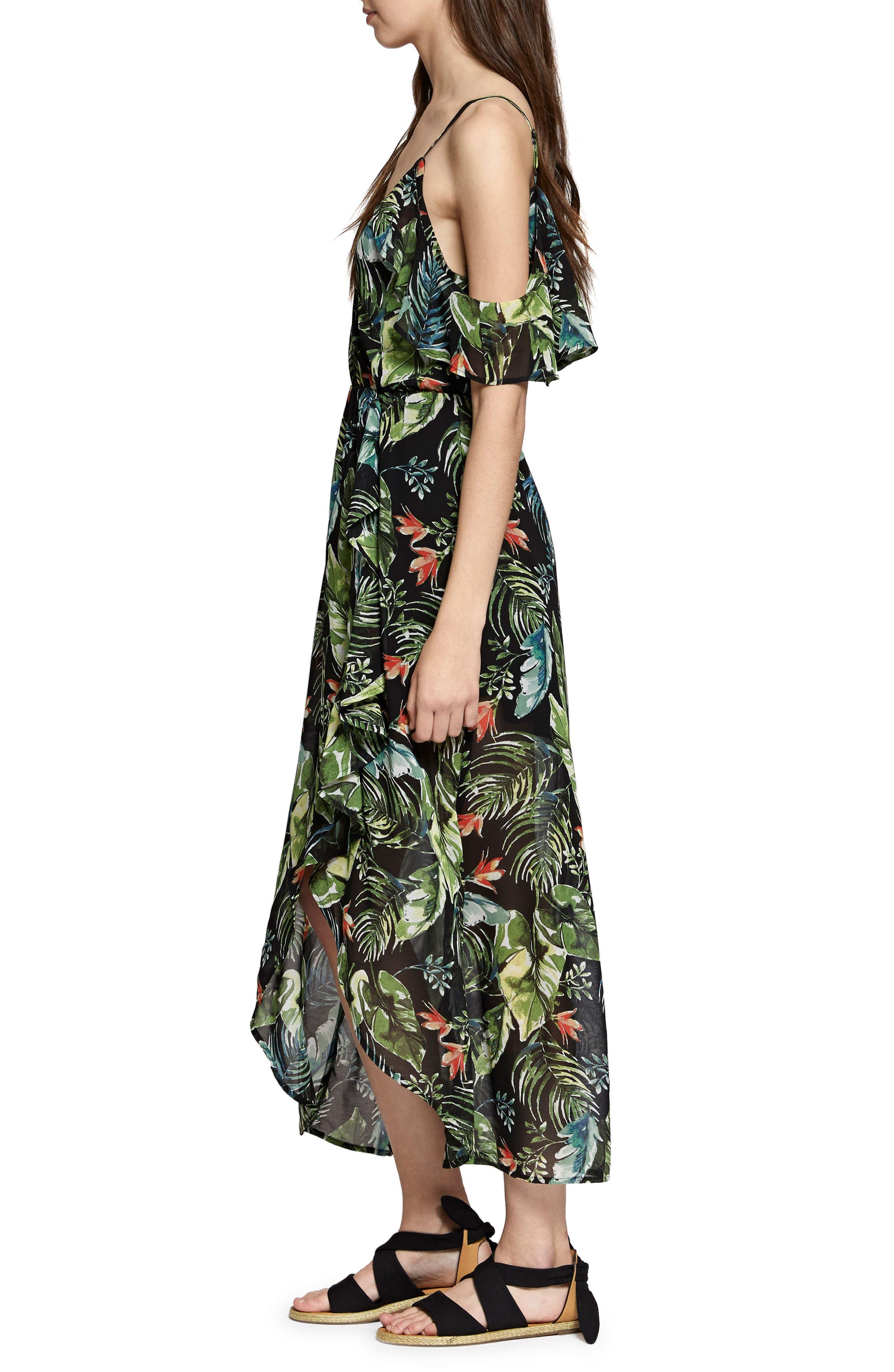 Sofia Ruffled Print Maxi Dress,                             Alternate thumbnail 3, color,                             Island Fever