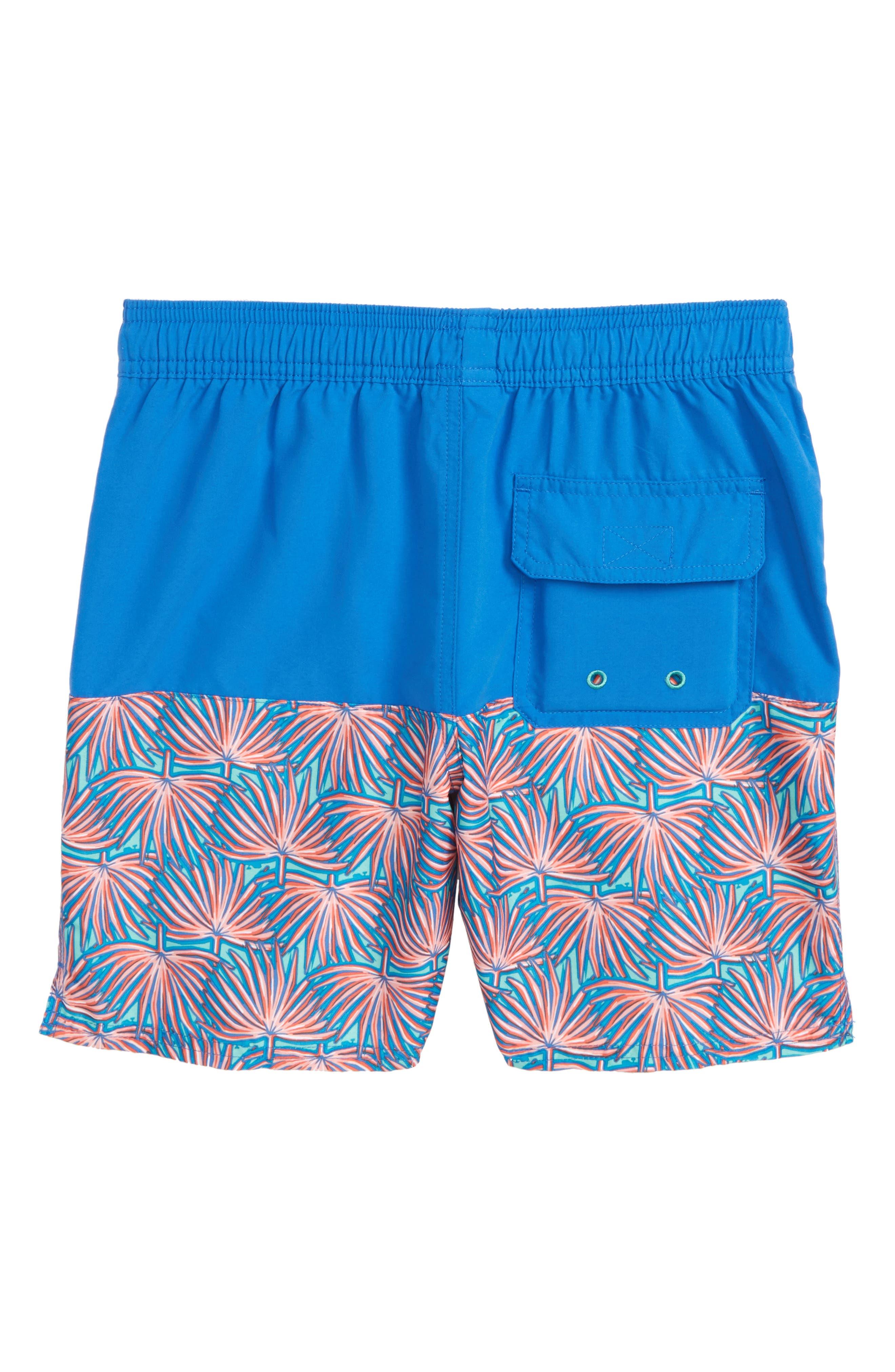 Chappy Fan Palm Print Swim Trunks,                             Alternate thumbnail 2, color,                             Capri Blue
